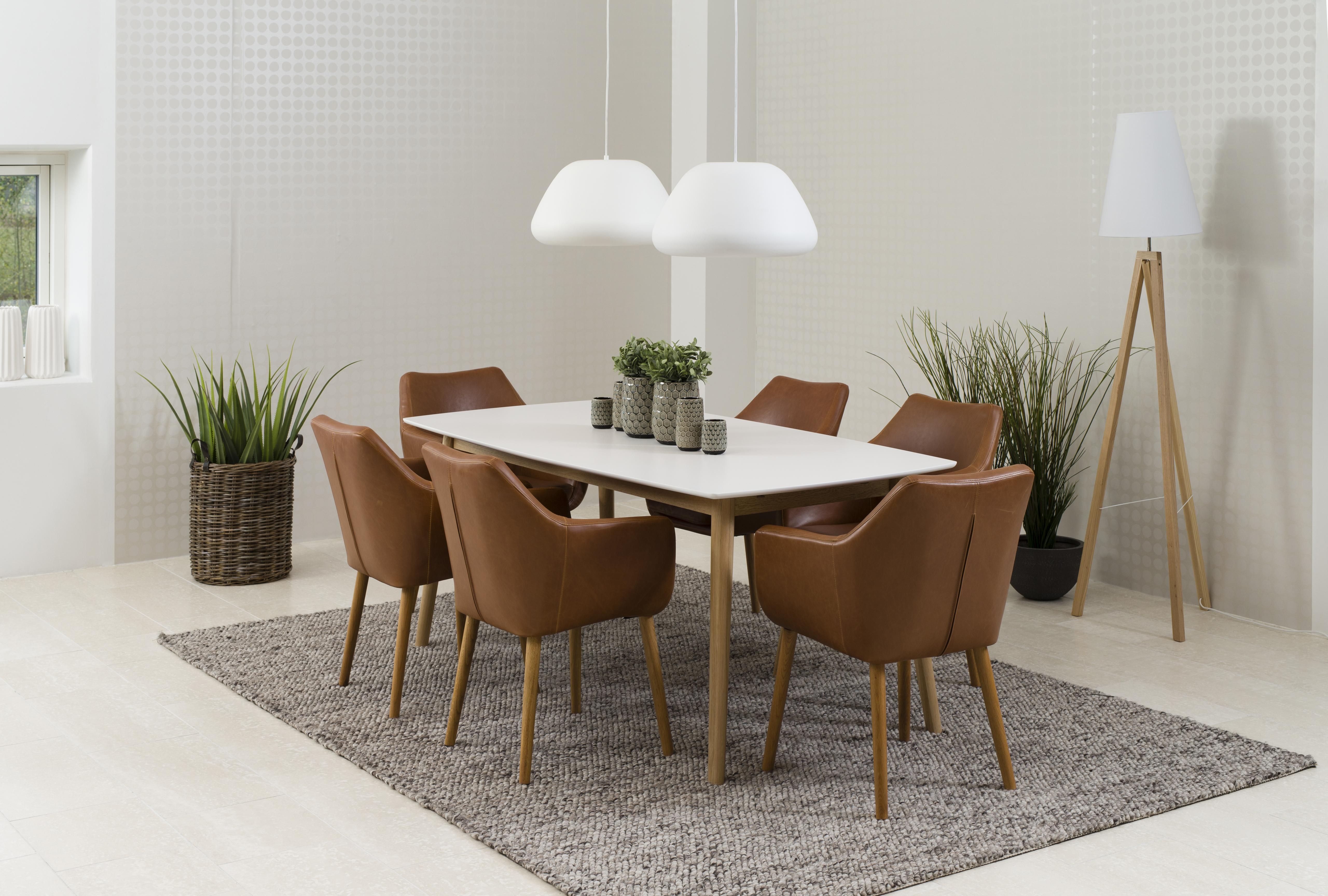 Masa din furnir si lemn Nagano Dining White/Oak, L150xl80xh75,5 cm