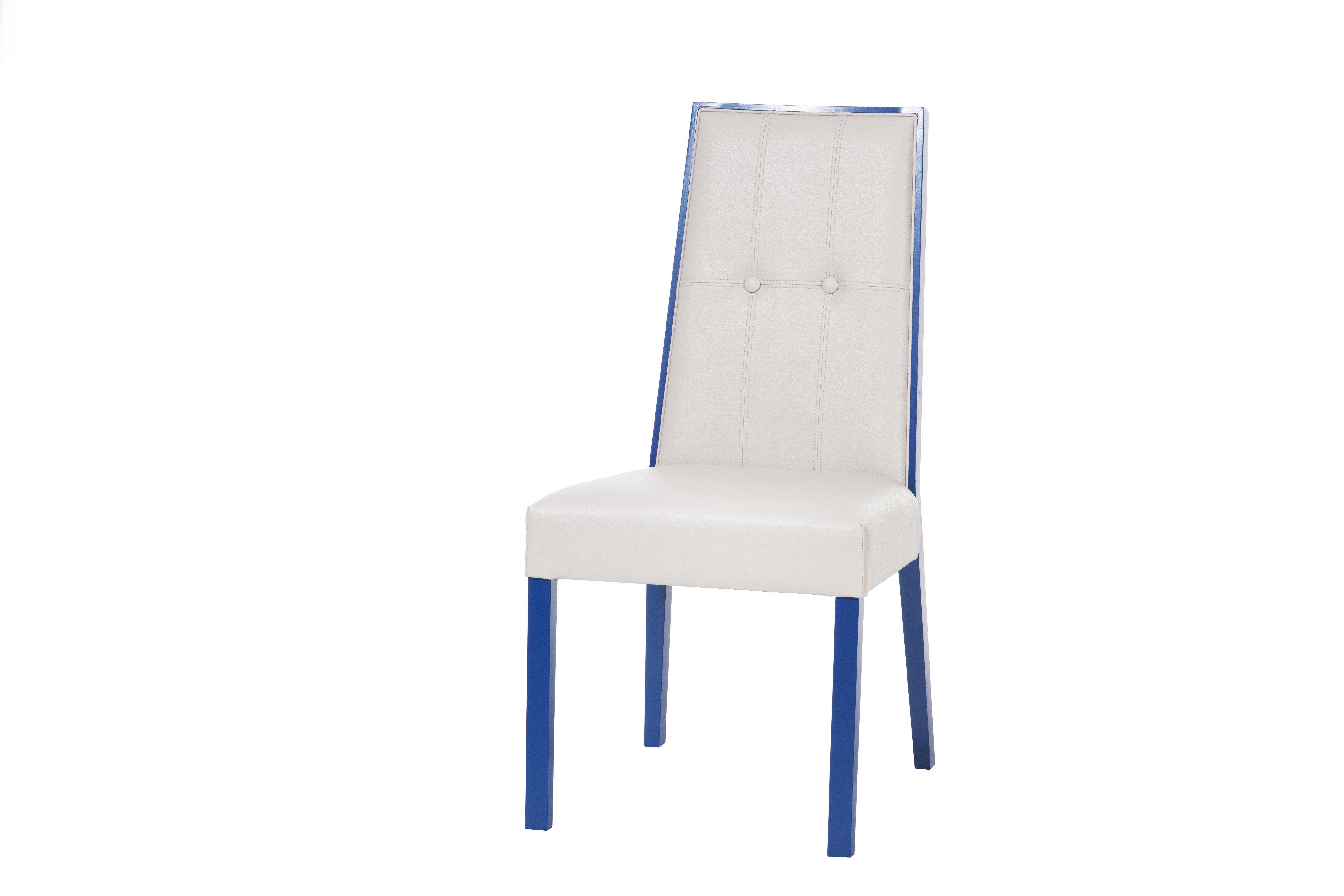 Scaun tapitat din lemn de fag Paris White / Blue