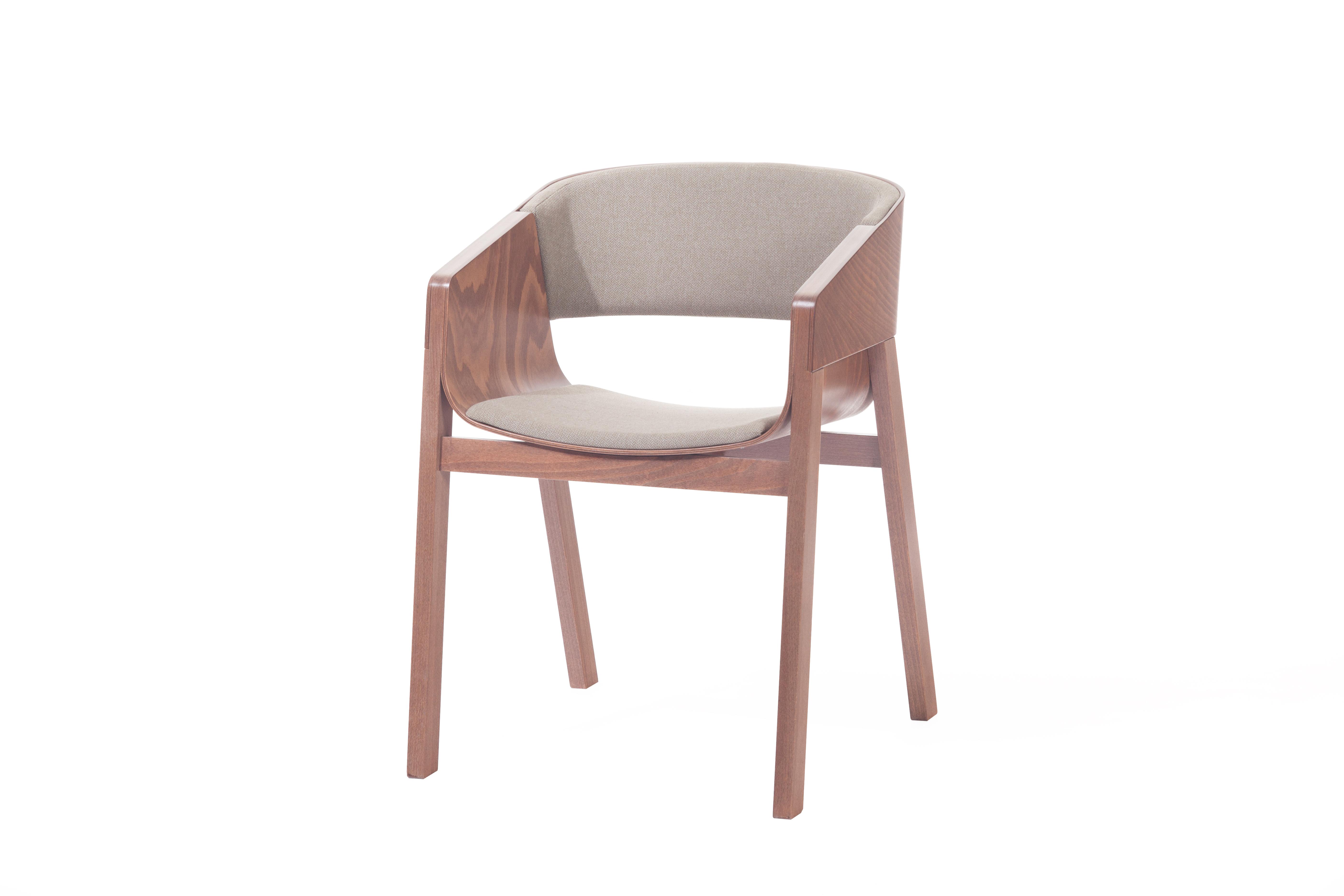 Scaun tapitat din lemn de nuc Merano Beige
