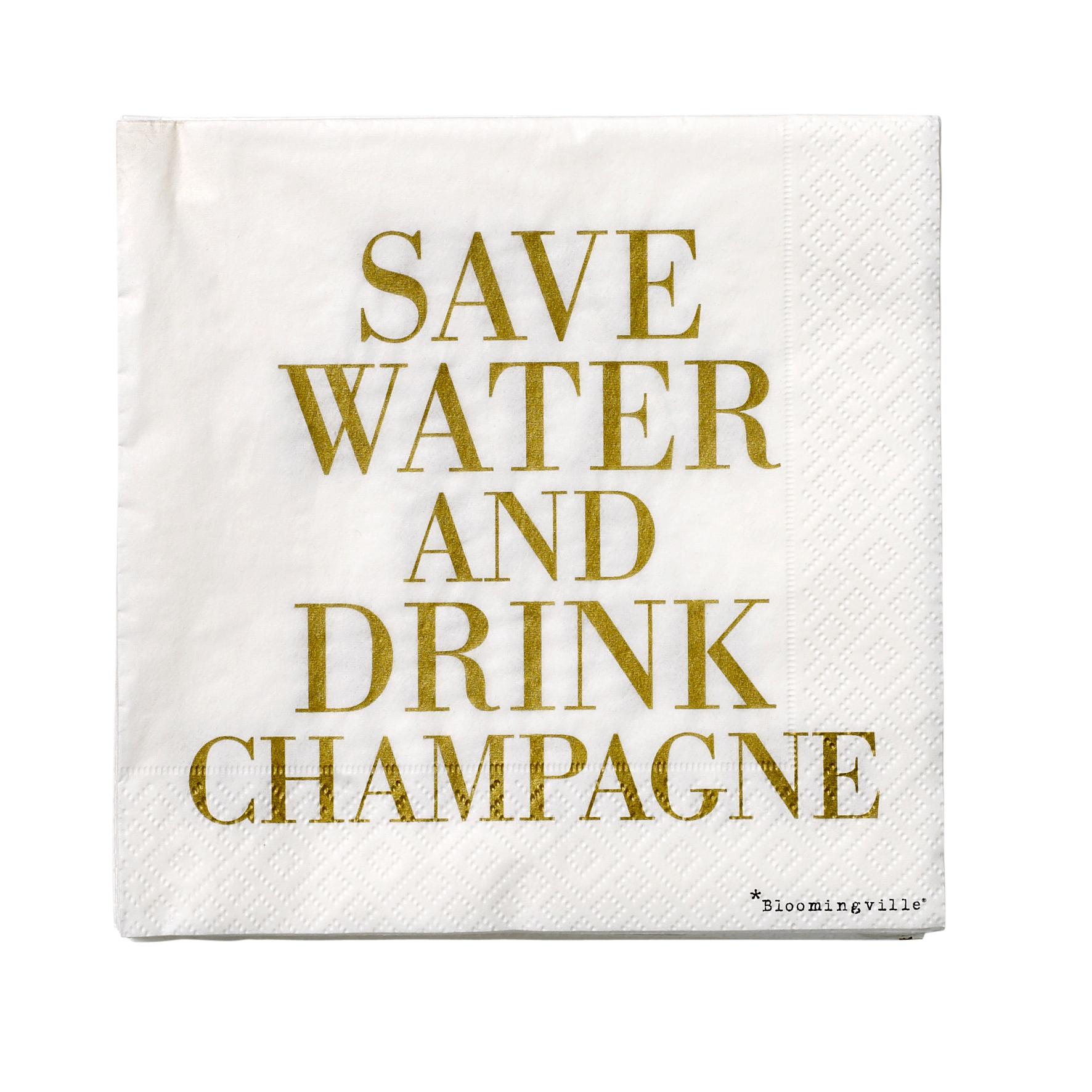 Pachet Servetele Save Water... Alb/auriu  L33xl33 Cm  20 Buc/pachet