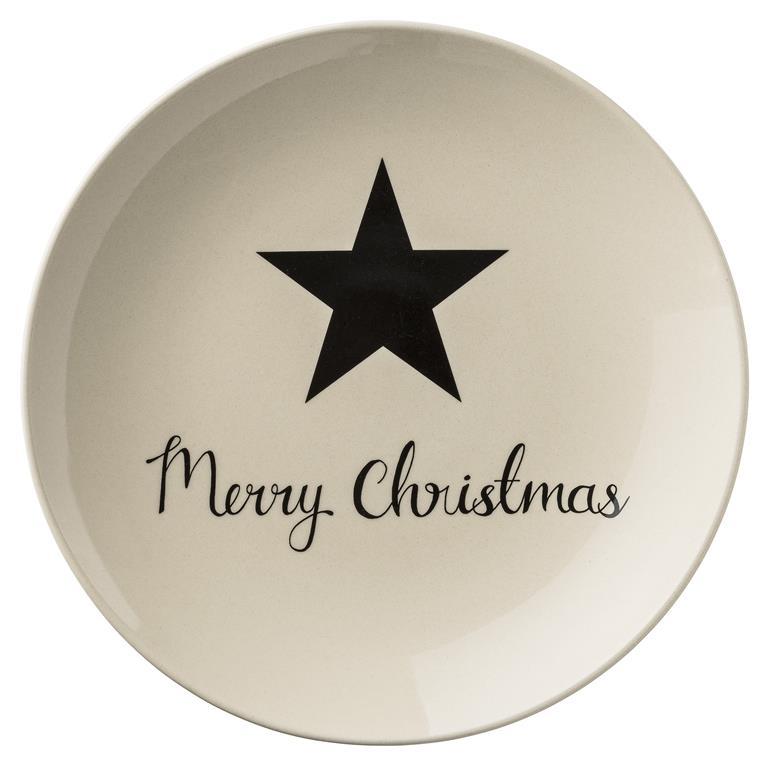 Farfurie Decorativa Star Merry Christmas Ivoir/neagra Ø25 Cm