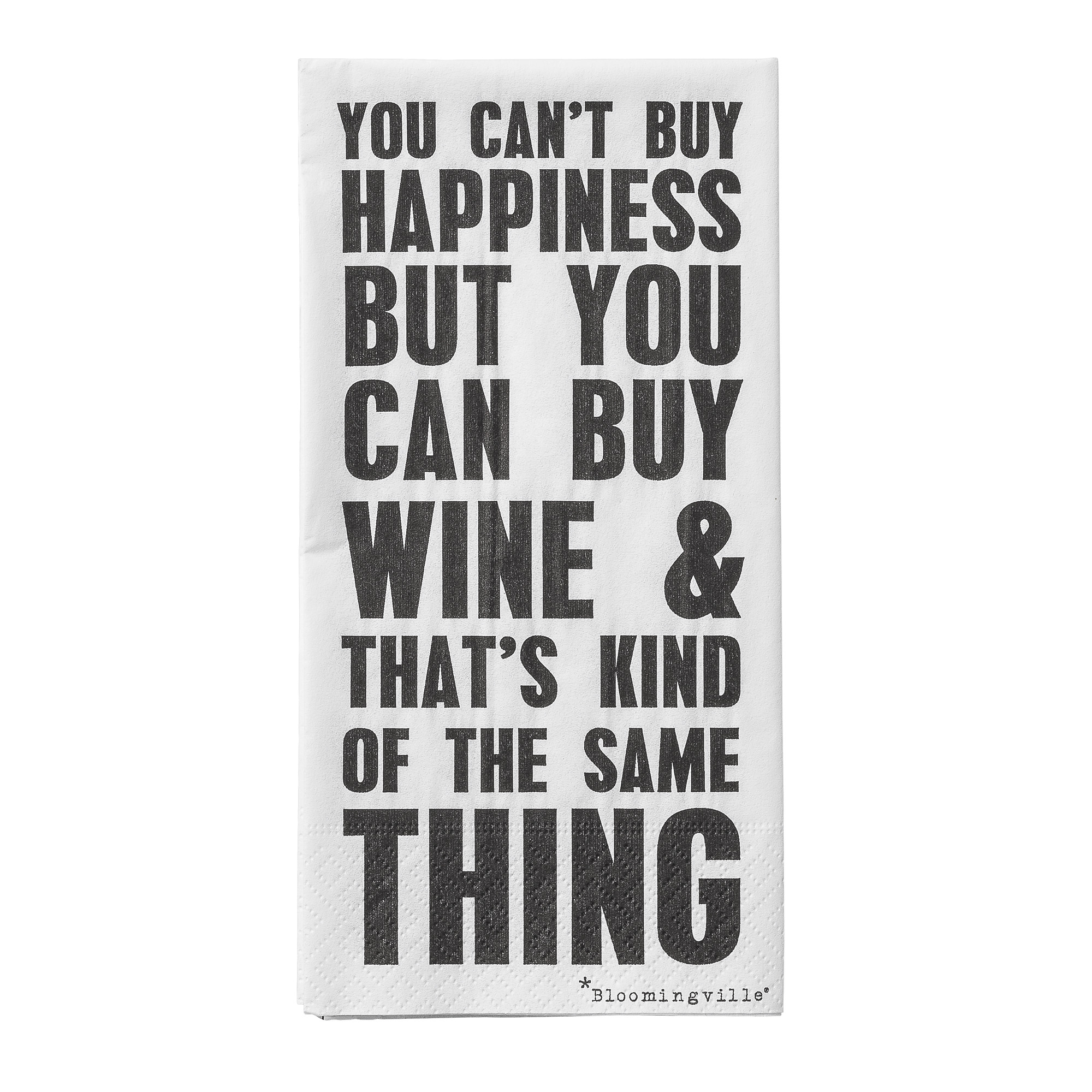 Pachet Servetele You Cant Buy Happiness Negru/alb  L40xl40 Cm  16 Buc/pachet
