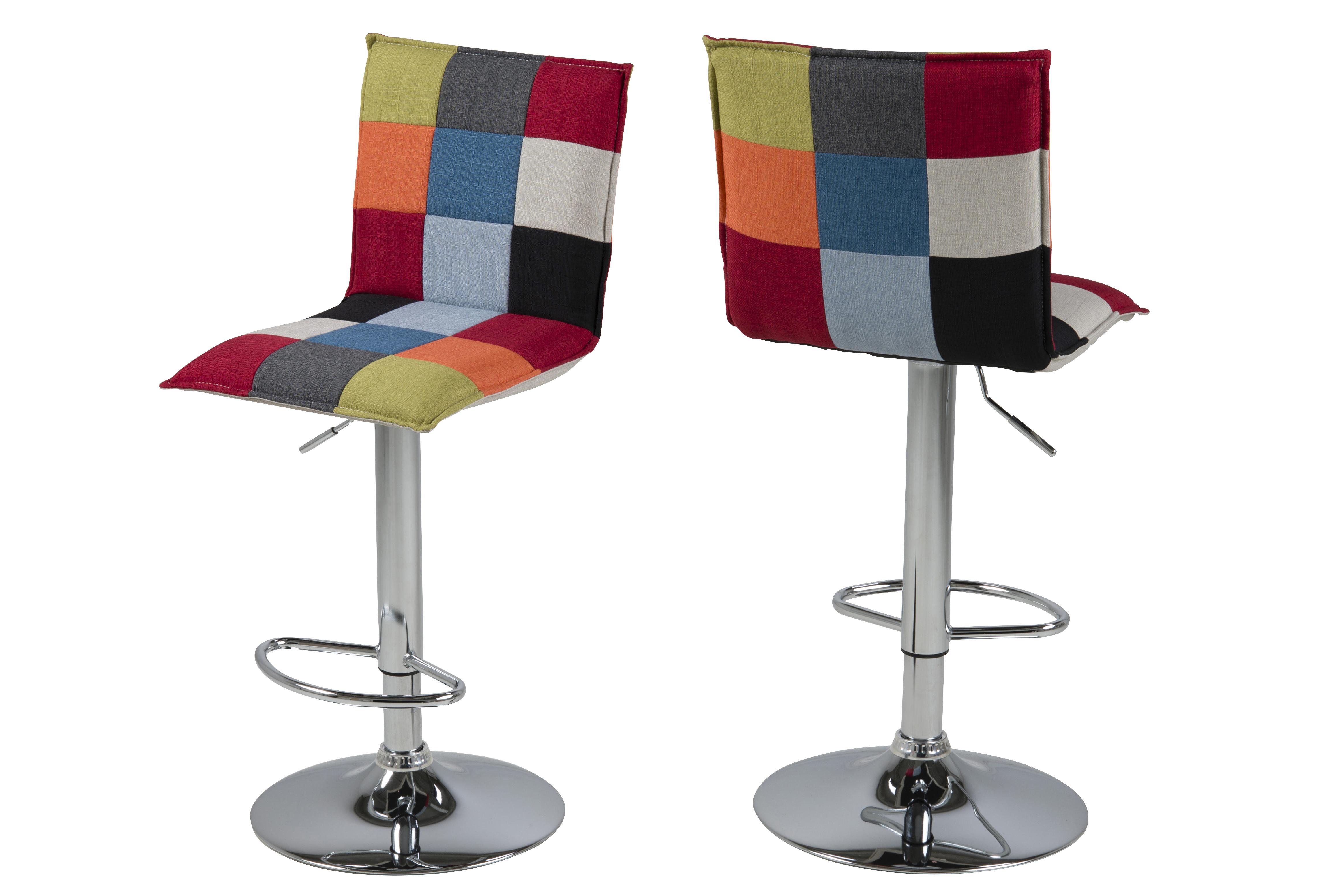 Set 2 scaune de bar tapitate Anela Multicolour