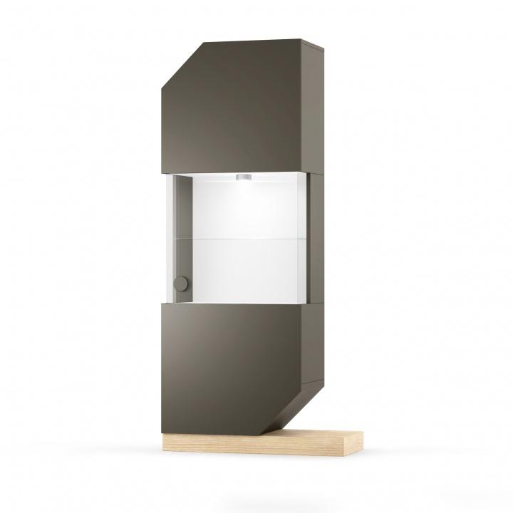 Cabinet Cu Vitrina Nook Oak Graphite/natural  L65x