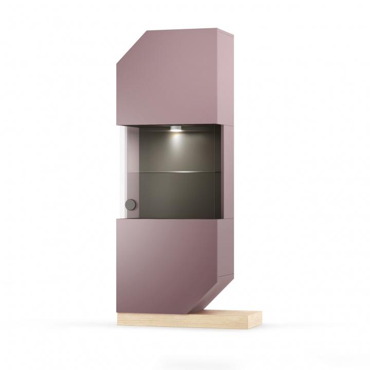 Cabinet Cu Vitrina Nook Oak Violet/natural  L65xl39xh183 Cm