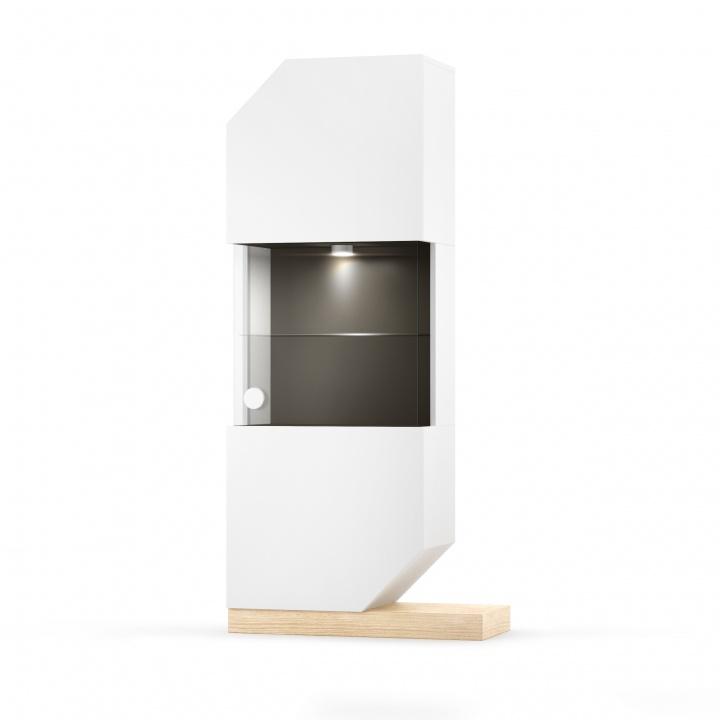 Cabinet Cu Vitrina Nook Oak White/natural  L65xl39xh183 Cm