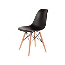 Scaun din plastic si lemn Enzo Negru