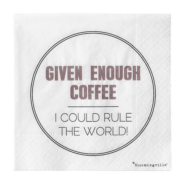 Pachet Servetele Given Enough Coffee... Alb/mov/negru  L25xl25 Cm  20 Buc/pachet