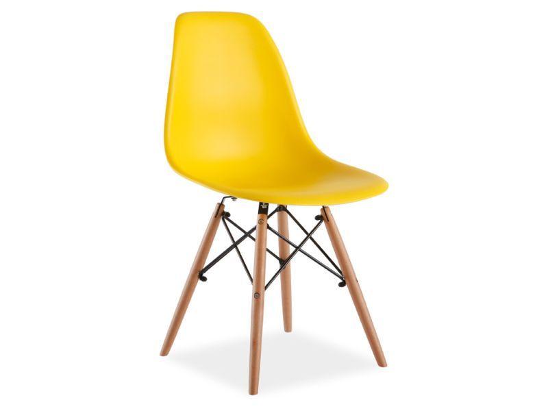 Scaun din plastic si lemn Enzo Galben