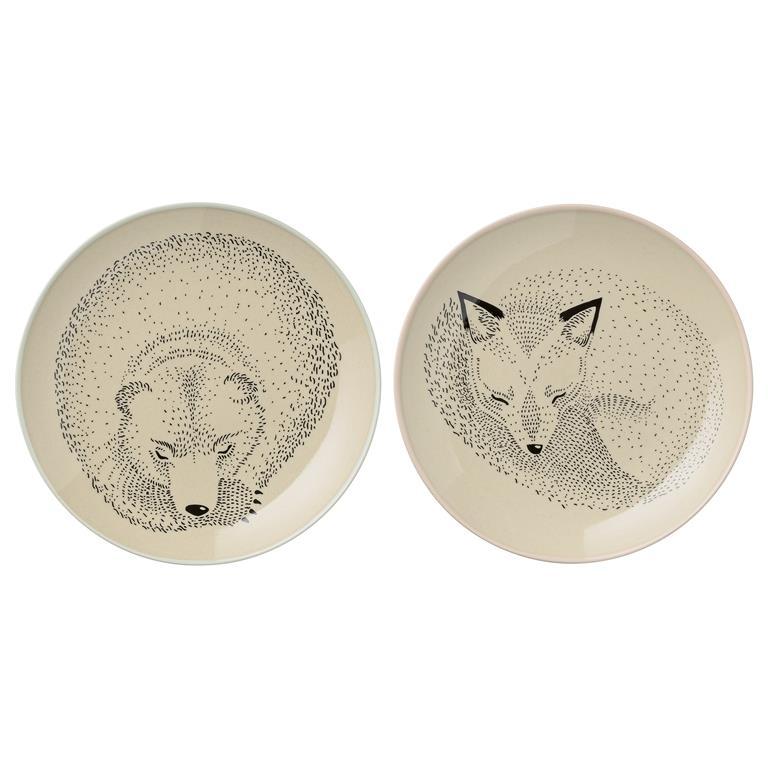 Farfurioara Bear / Fox Ø16 Cm  2 Bucati
