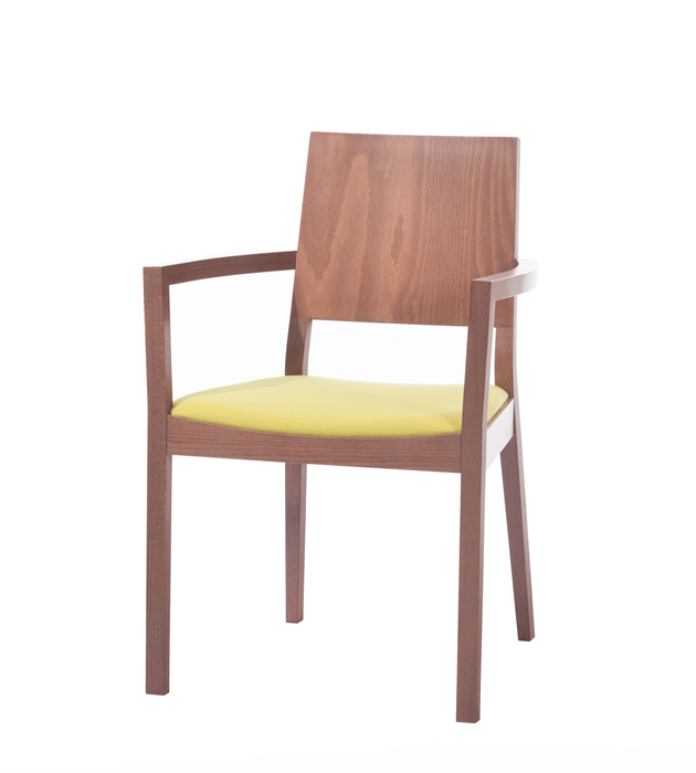 Scaun tapitat din lemn de stejar Lyon Walnut 514