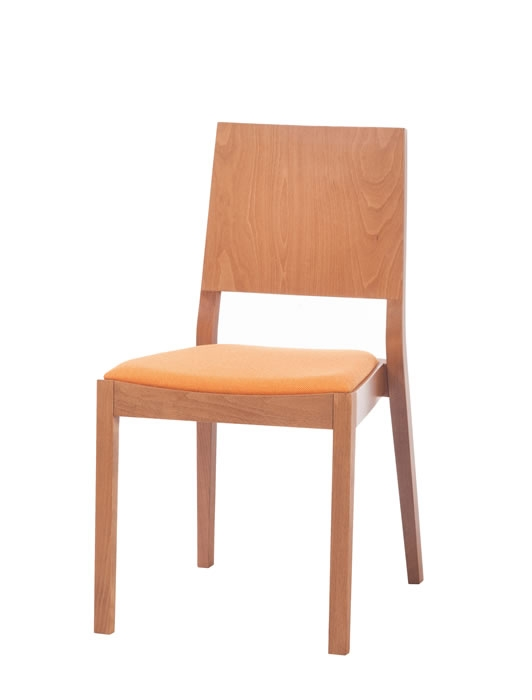 Scaun tapitat din lemn de stejar Lyon Orange 514
