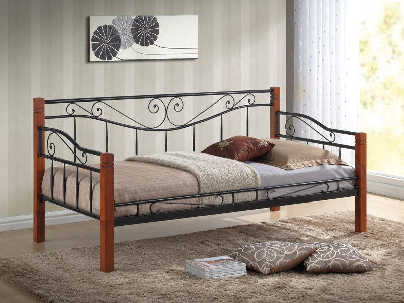 Pat / divan din metal negru cu insertie de lemn Kenia