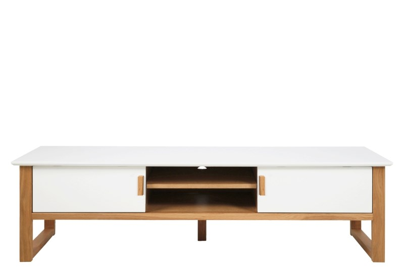 Comoda TV din MDF si furnir Osaka White/Oak