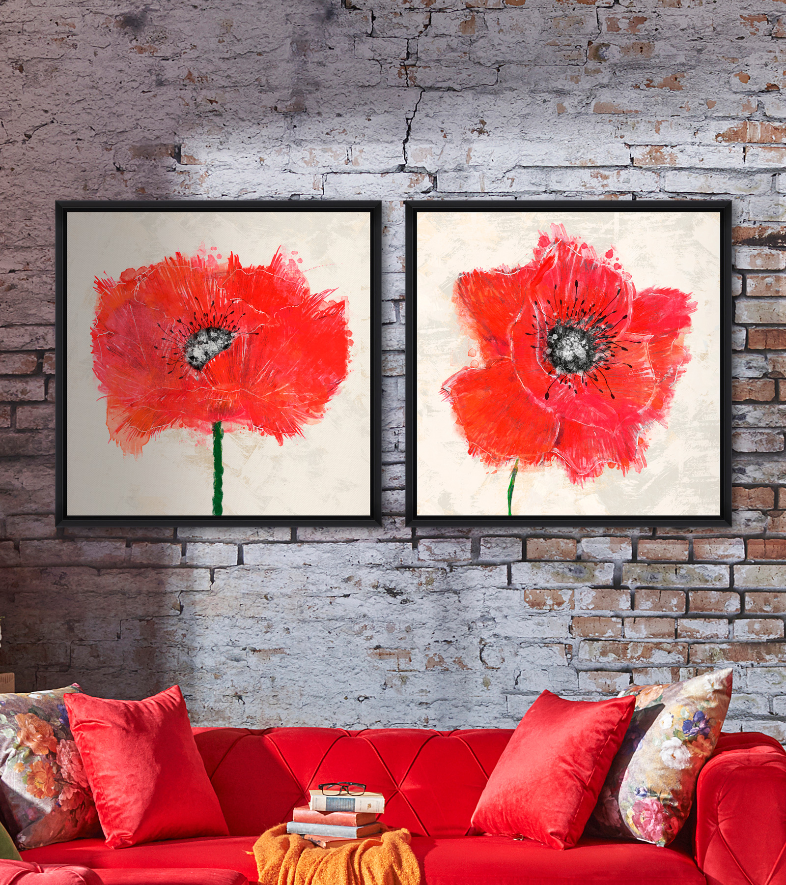 Tablou 2 Piese Framed Art Red Explosion