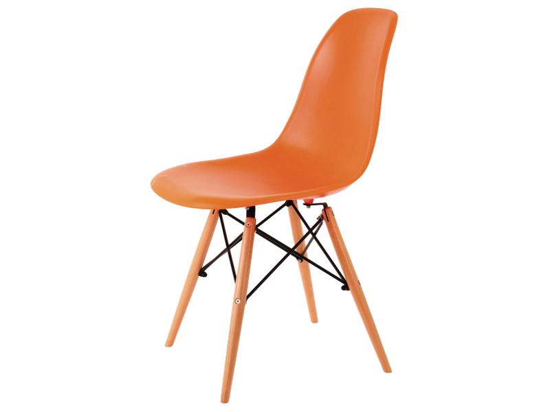 Scaun din plastic si lemn Enzo Orange