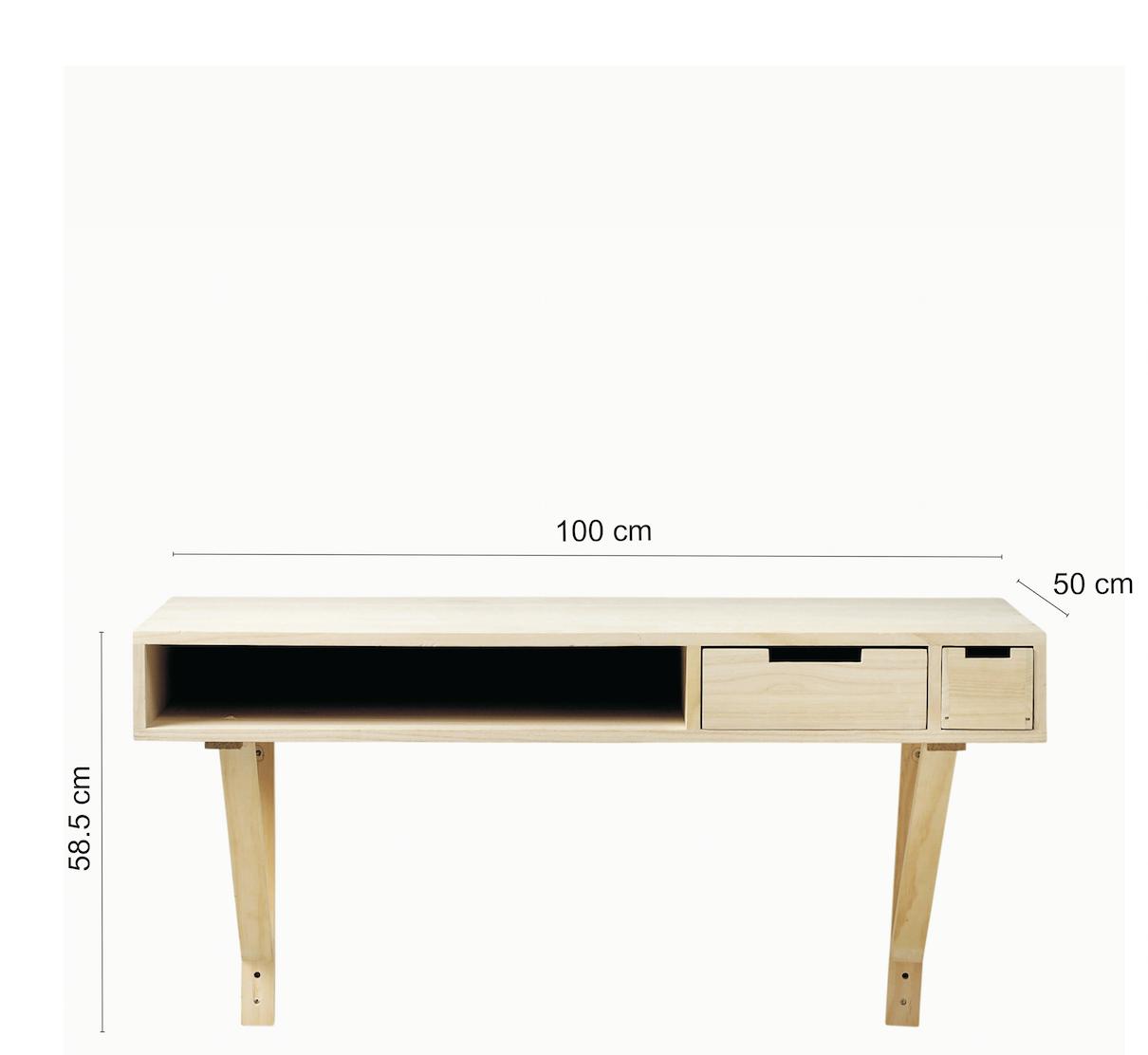 Masa de birou crem Harold Nature, L100xl50xh58,5 cm
