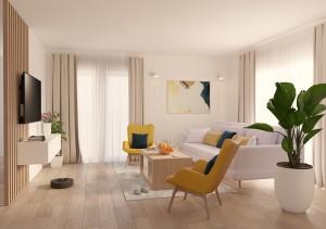 Living modern cu accente colorate  (17 m²)