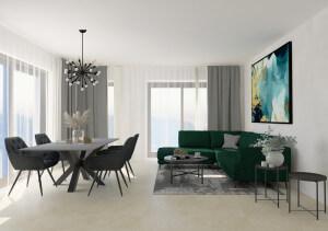 Living modern cu accente industriale (27 m²)