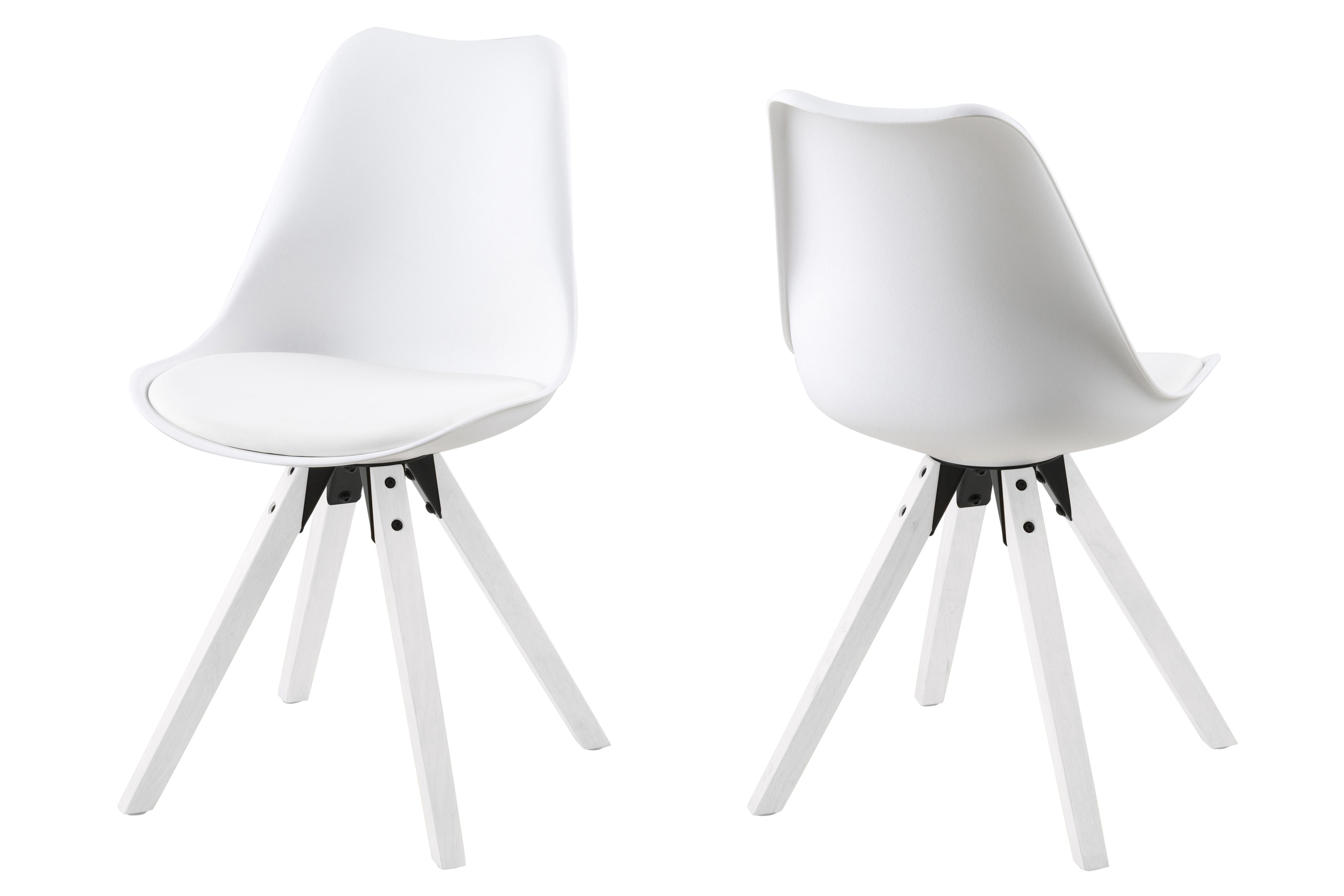 Set 2 scaune tapitate cu piele ecologica Dima All White