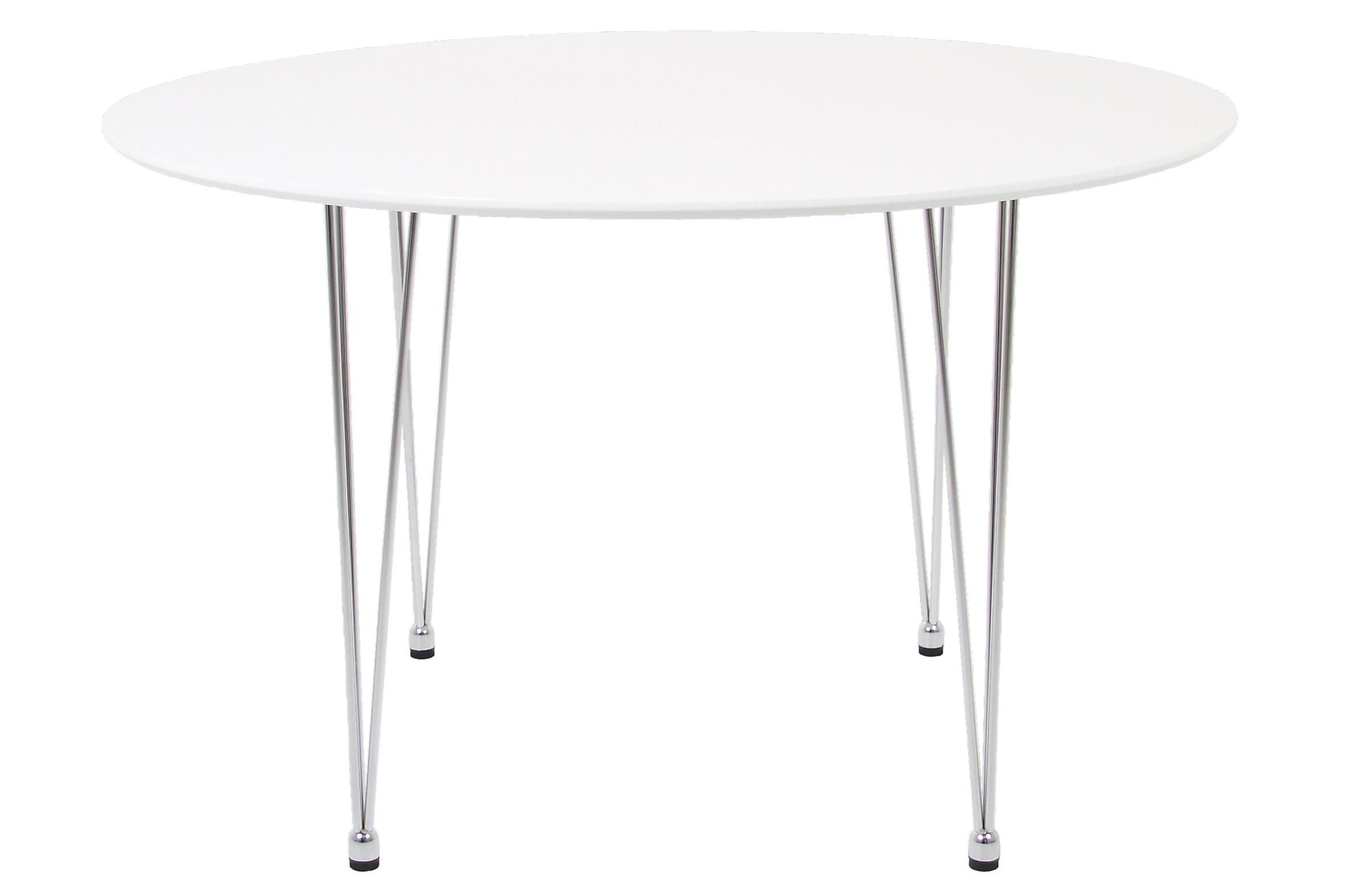 Masa din MDF si metal Lene White, Ø100xh72,9 cm