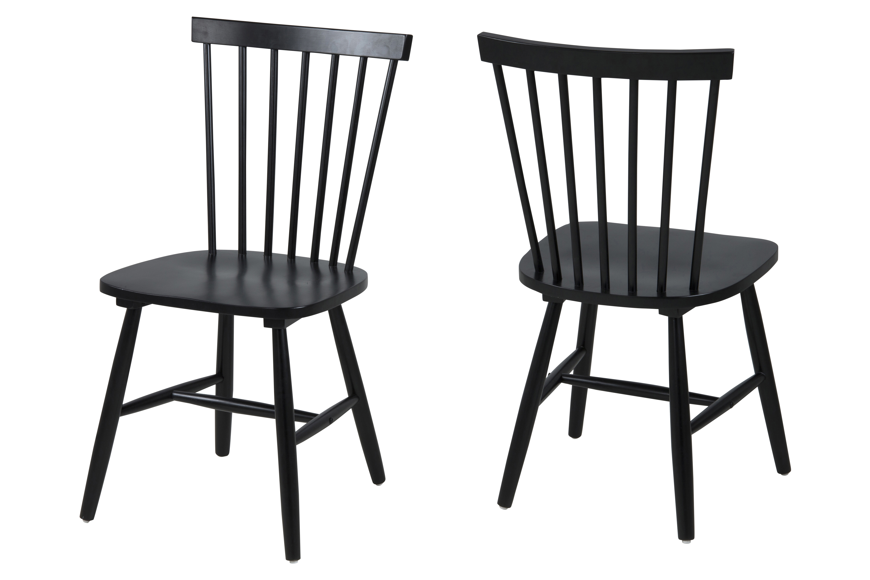 Set 2 scaune din lemn de cauciuc Riano Black, l48,5xA48xH86 cm