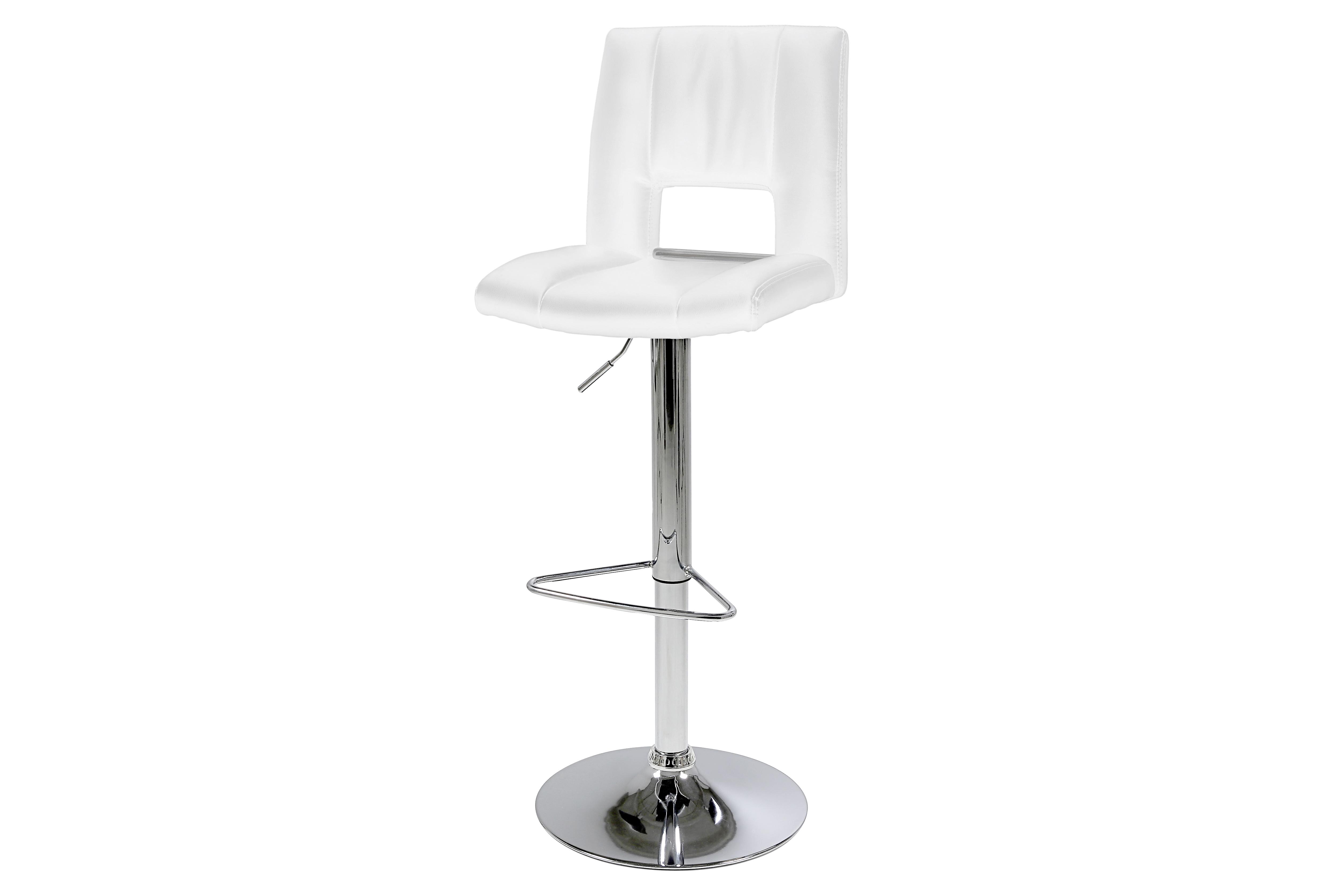 Set 2 scaune de bar tapitate cu piele ecologica Sylvia White