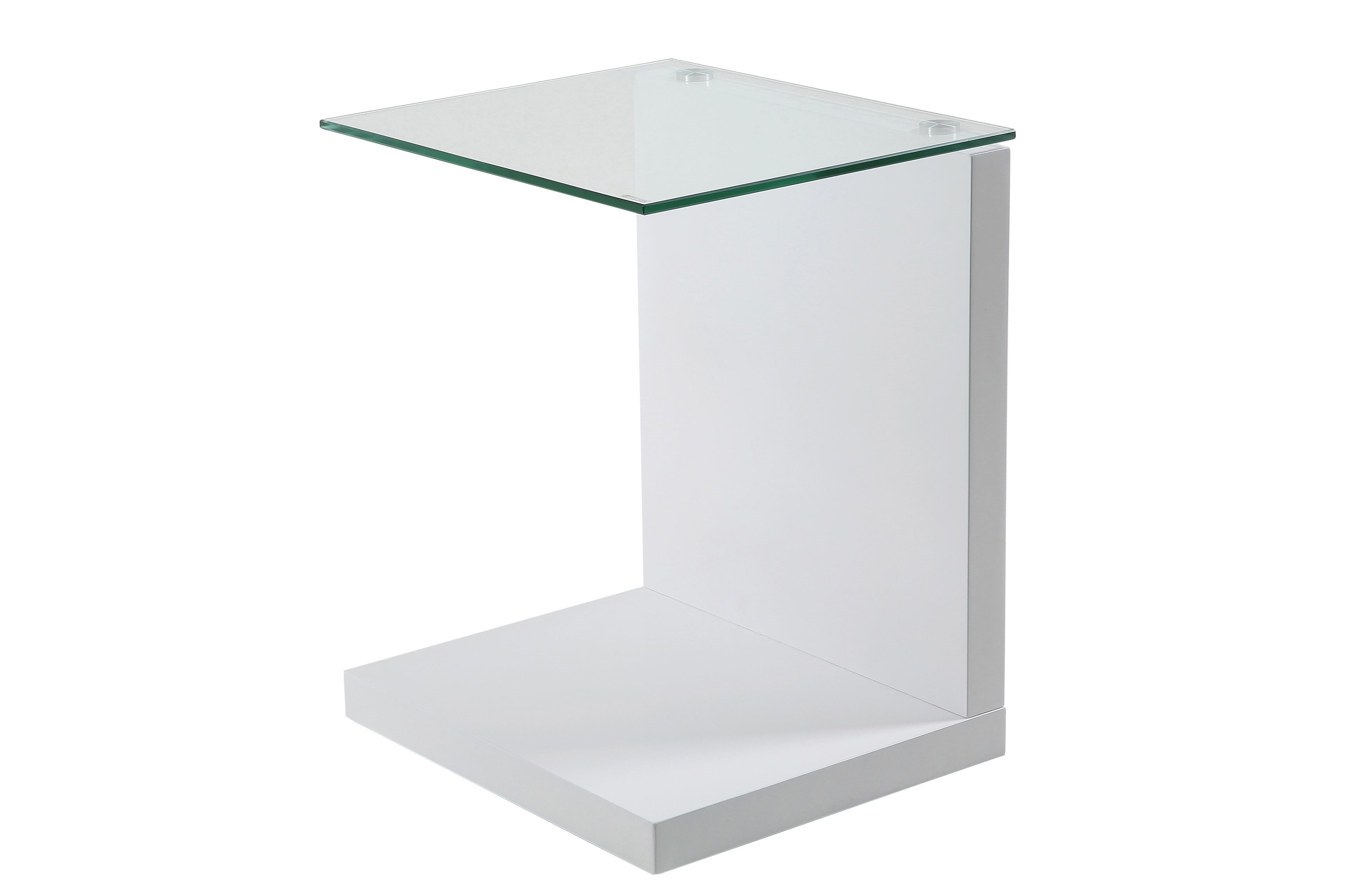 Masuta din MDF si sticla Tupit White, L40xl35xh50 cm