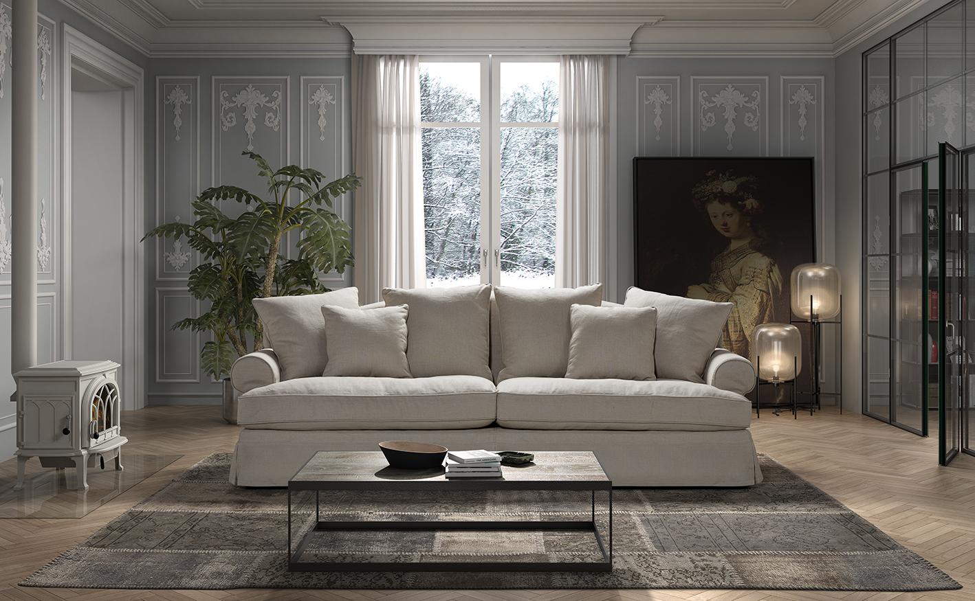 Canapea fixa 3,5 locuri Lucerne Natural