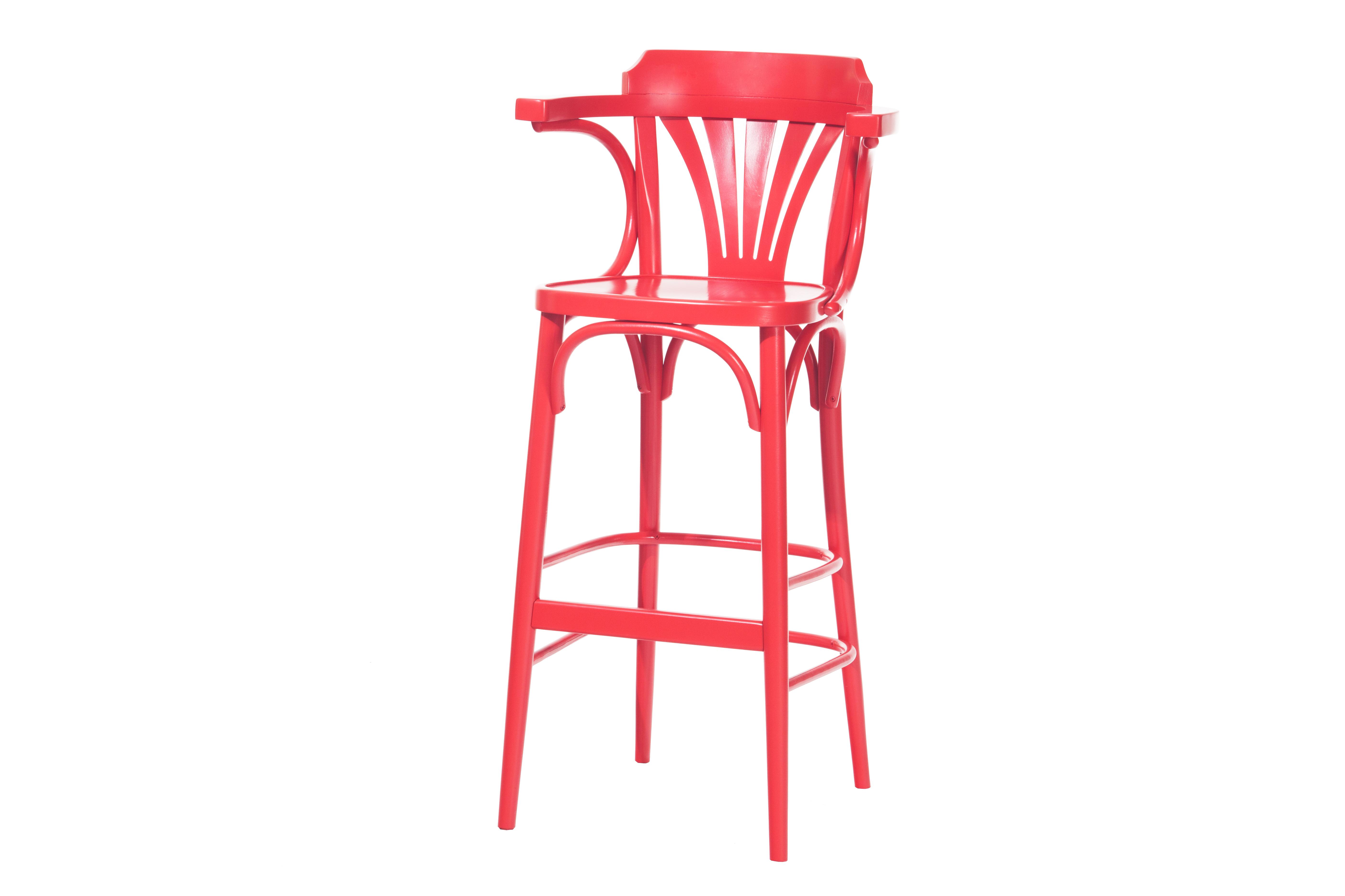 Scaun de bar din lemn de fag 135 Red, l54xA49xH107 cm