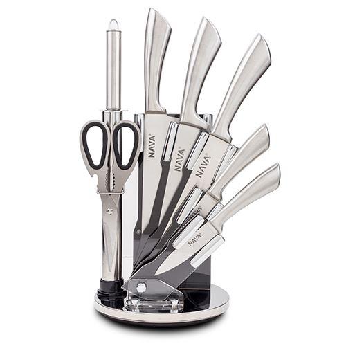 Set 5 cutite cu suport si accesorii Silver imagine
