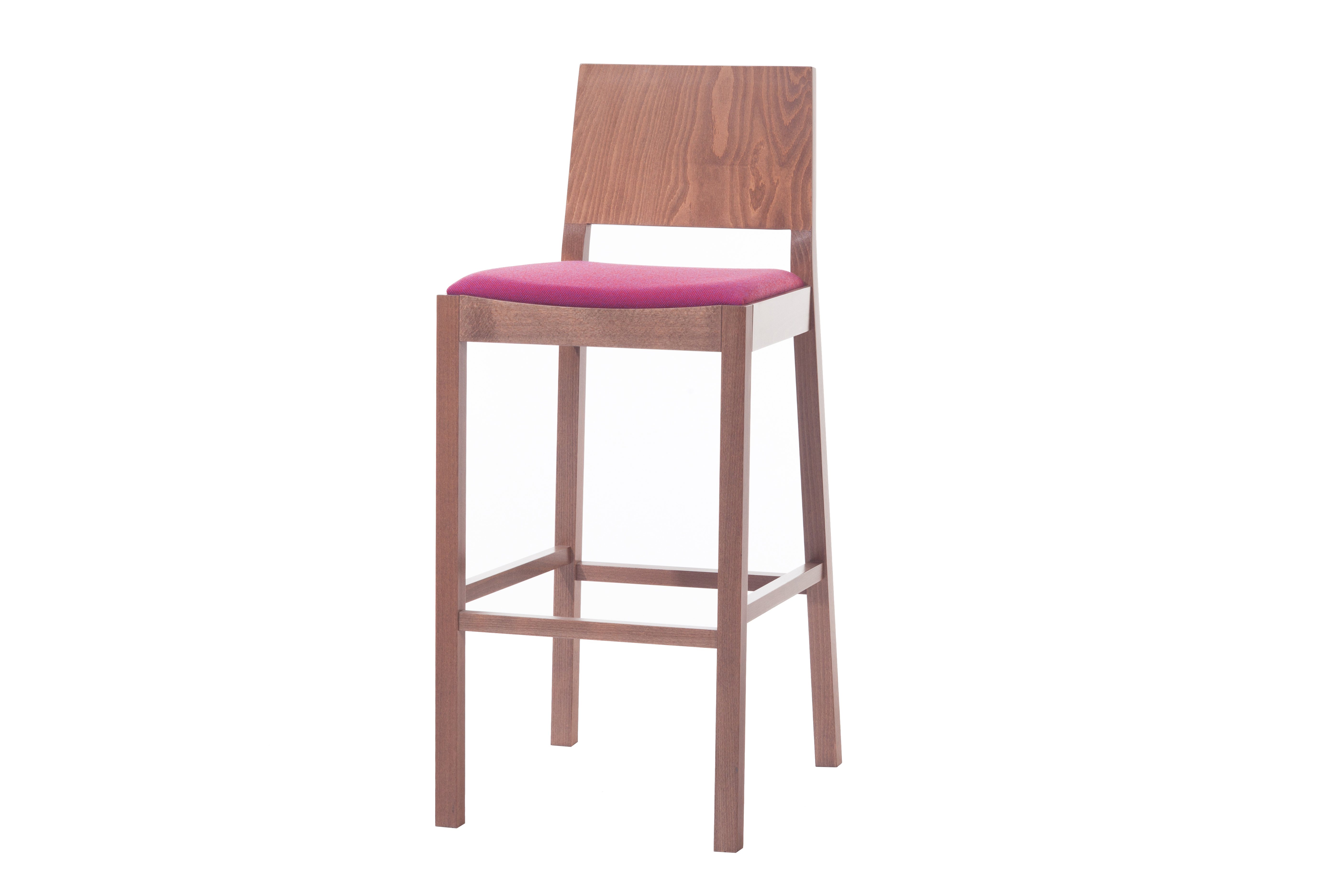 Scaun de bar din lemn de fag, tapitat cu stofa Lyon Walnut / Pink 515, l44xA53xH102 cm