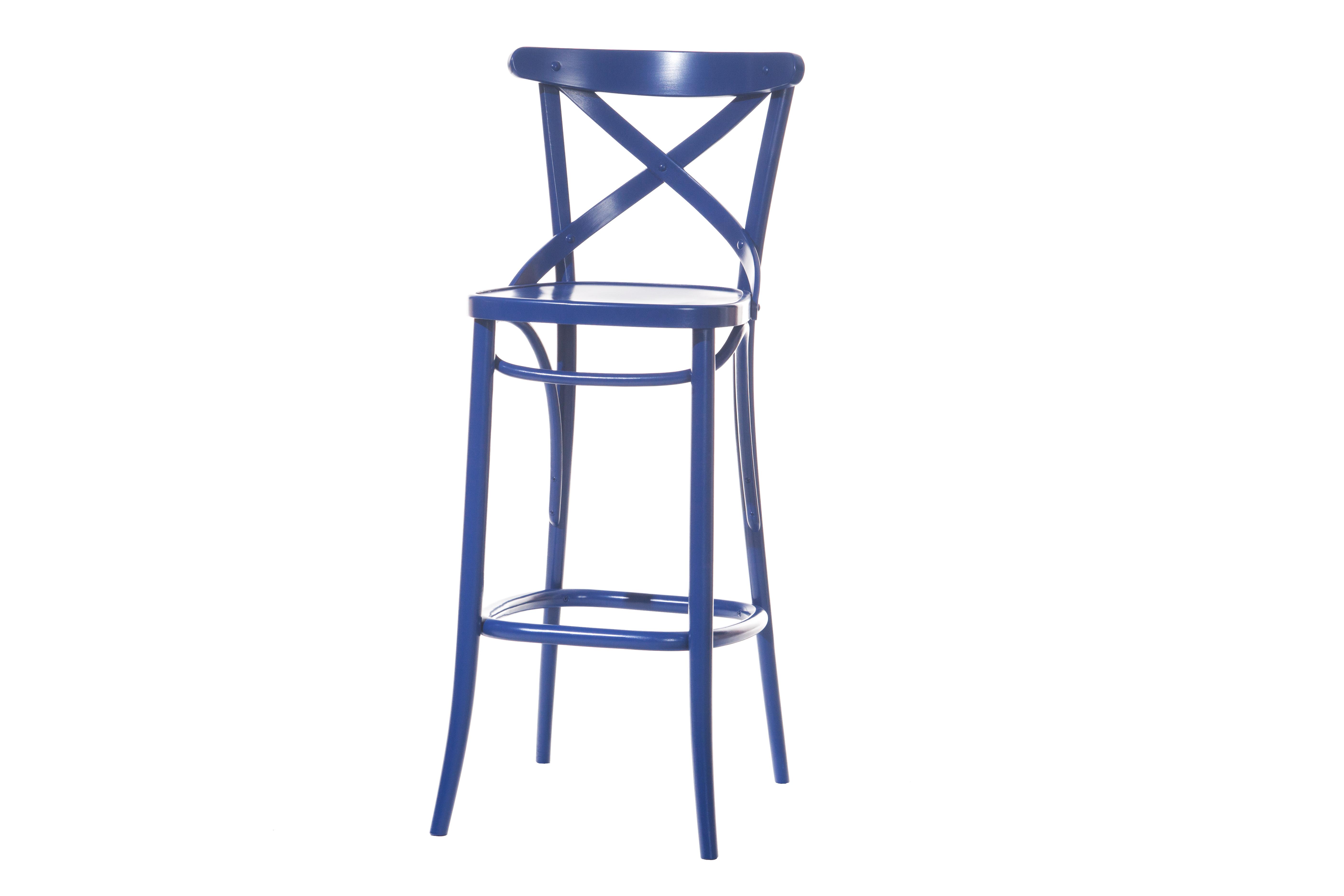 Scaun de bar din lemn de fag 149 Blue, l45xA46,5xH109,5 cm imagine