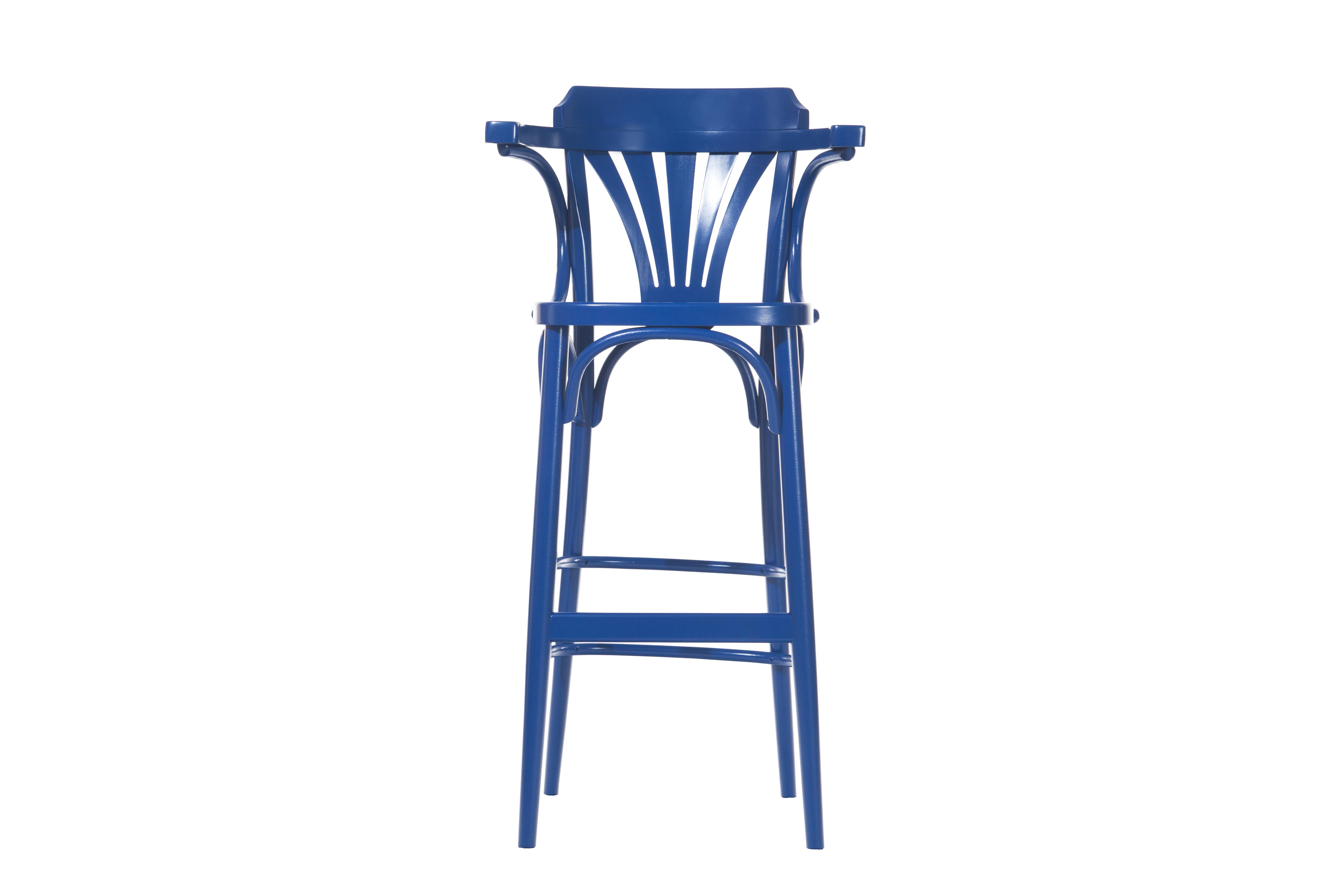 Scaun de bar din lemn de fag 135 Blue, l54xA49xH107 cm