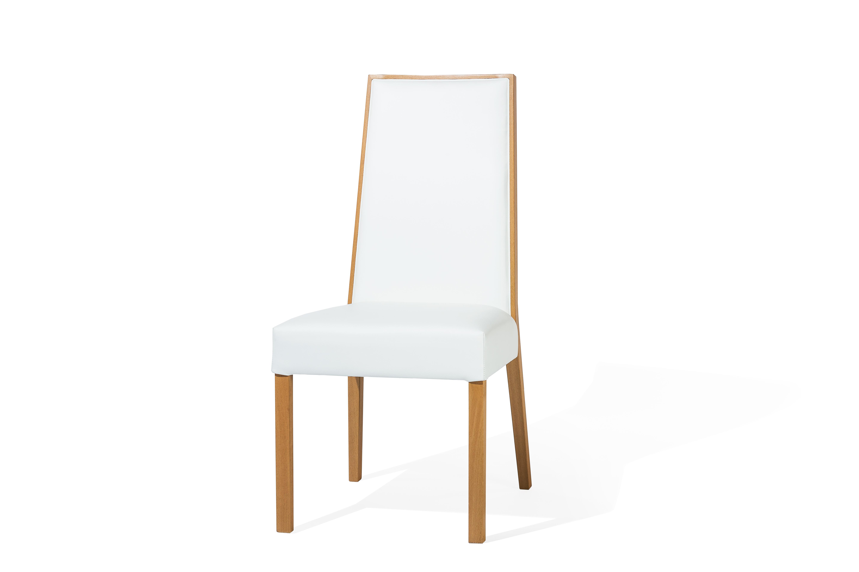 Scaun tapitat cu stofa, cu picioare din lemn de fag Paris White, l54xA45xH97 cm