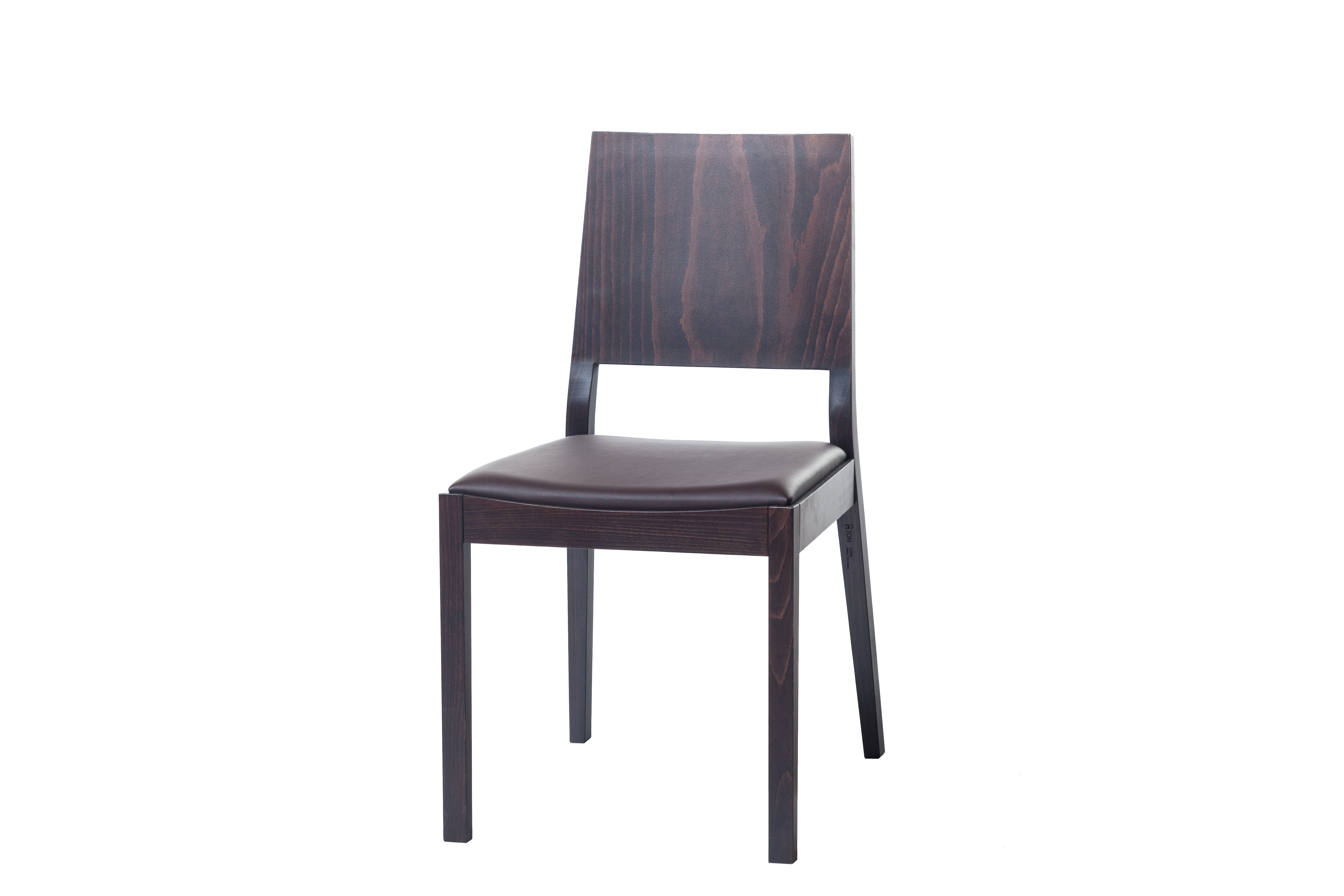 Scaun din lemn de stejar, tapitat cu piele ecologica Lyon Wenge 514, l46xA58xH86 cm