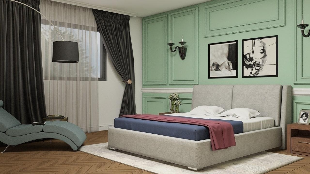 Pat Monaco, cu lada de depozitare, tapitat cu New Neapol 8, Picioare din lemn Dab 10, 200 x 160 cm imagine
