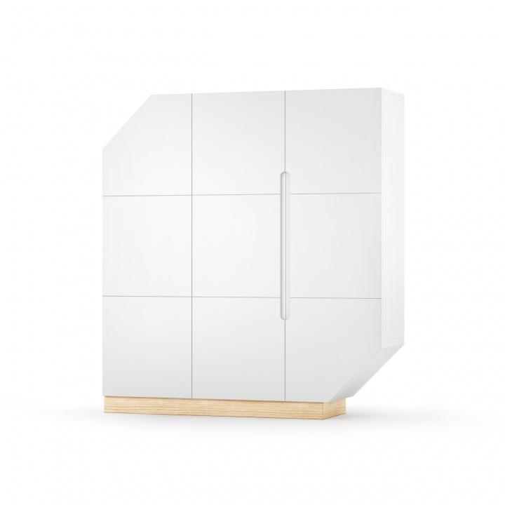 Cabinet din MDF si pal cu 3 usi Nook Large Oak White / Natural l137xA39xH152 cm
