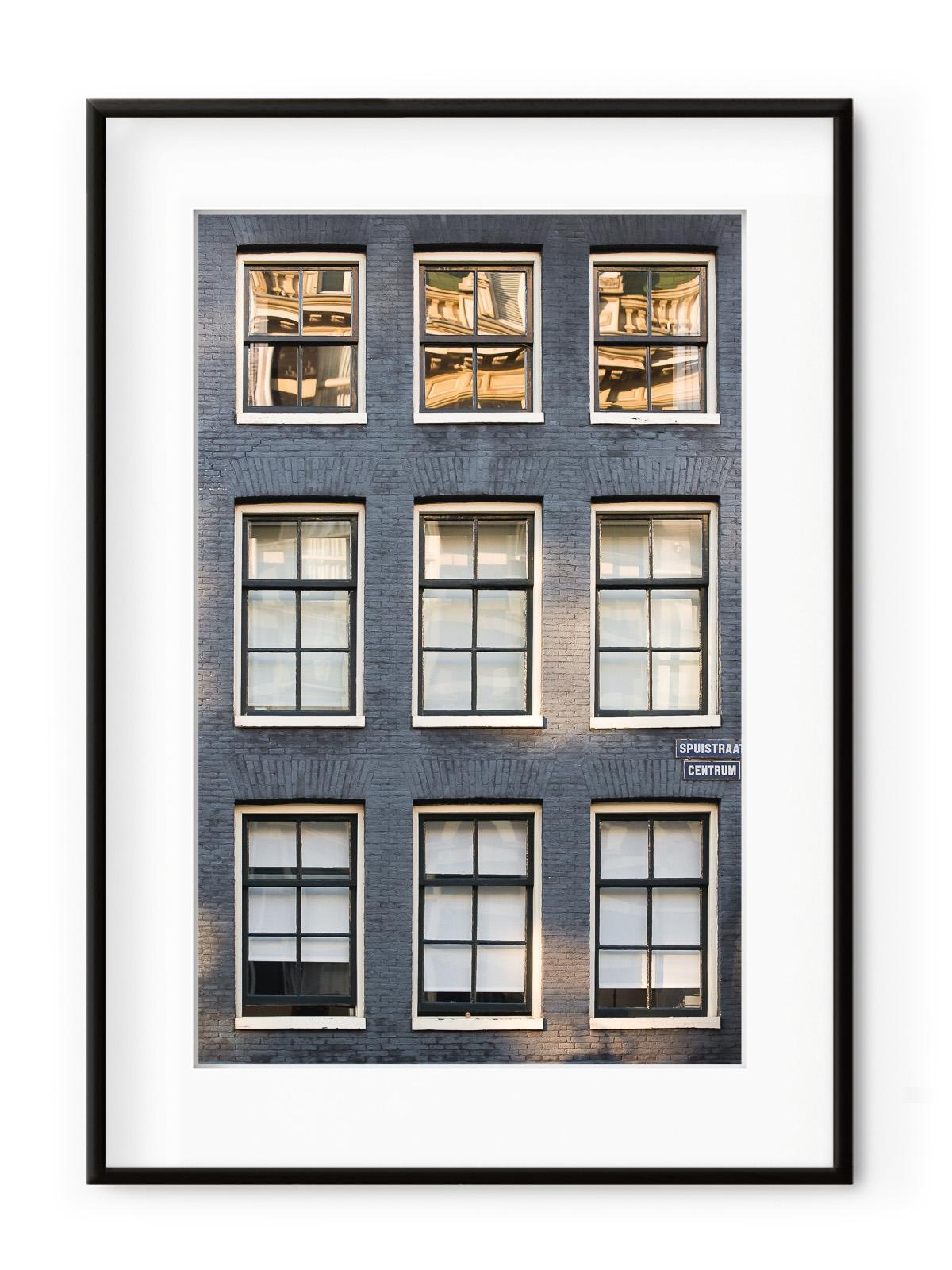 Tablou Facade de Briques Amsterdam Aluminium Noir