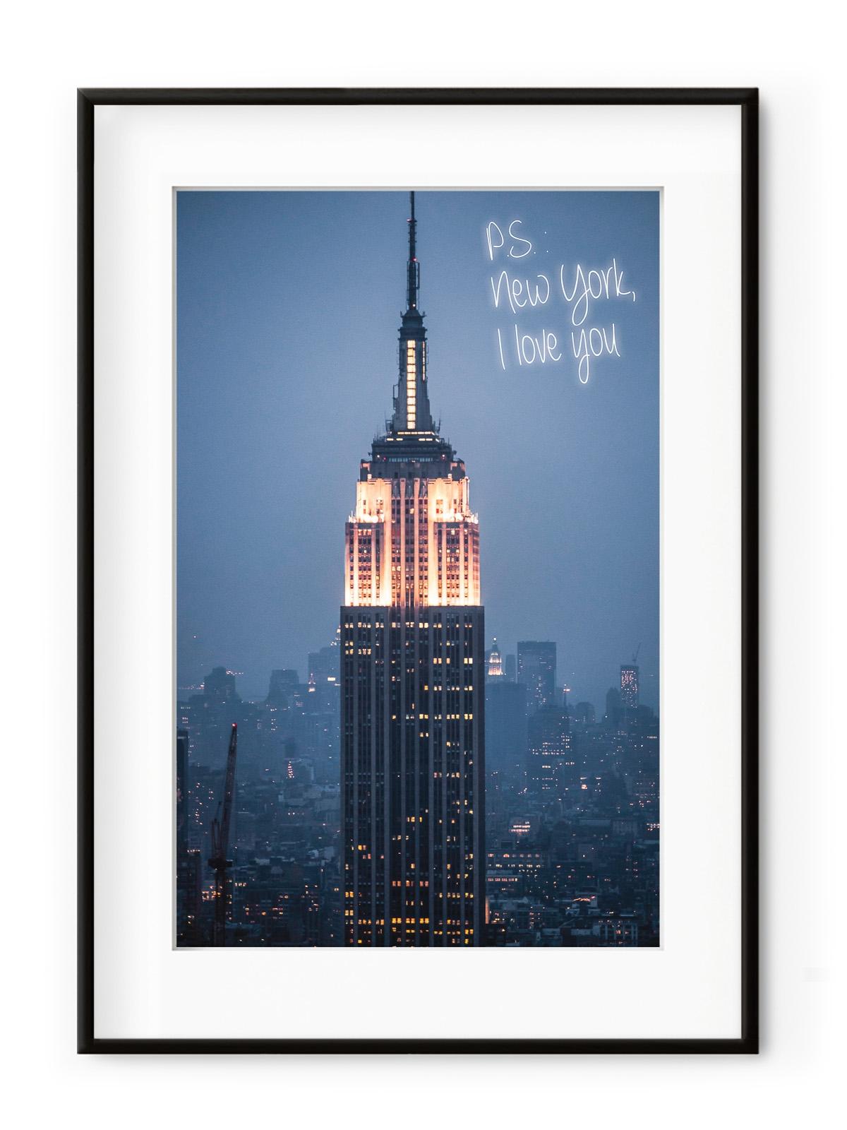 Tablou PS: New York I Love You Aluminium Noir