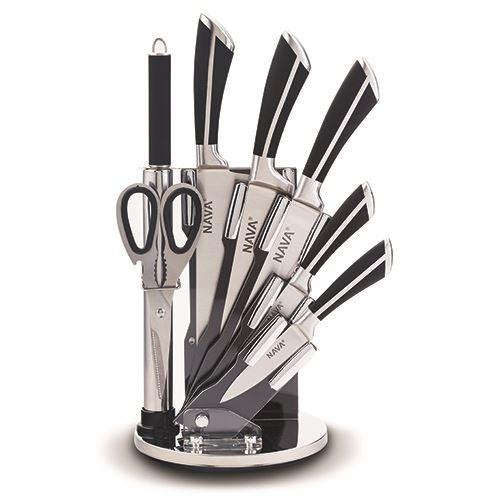 Set 5 cutite cu suport si accesorii Steel Negru imagine