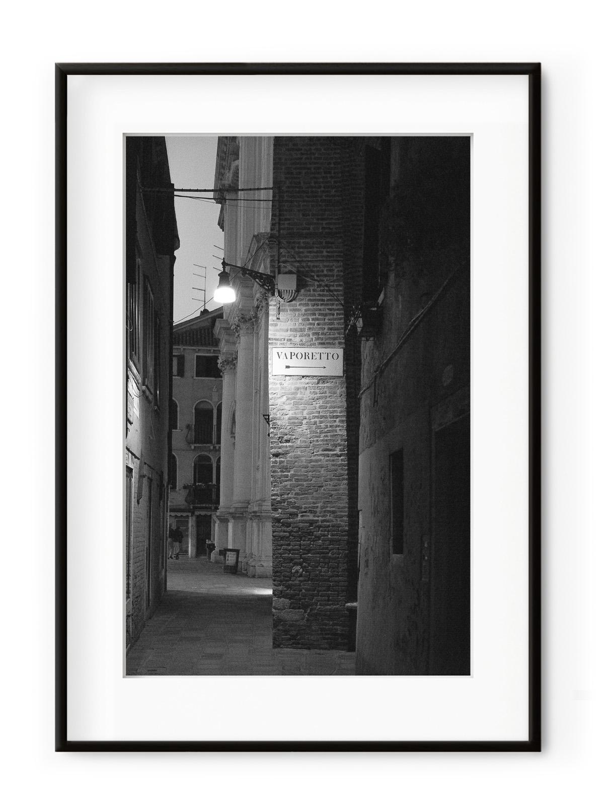 Tablou Venezia di Notte Vaporetto Aluminium Noir