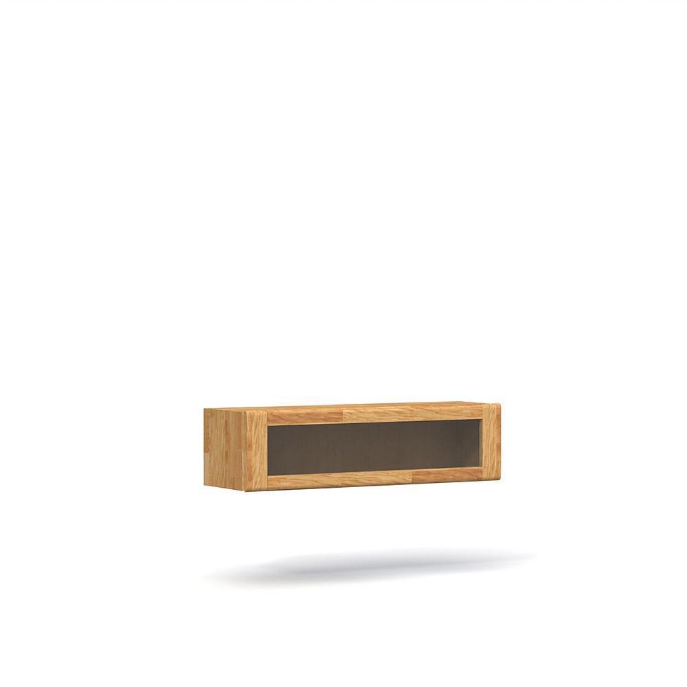 poze cu Vitrina suspendata din lemn masiv de stejar natural Seti, L120xl35xh32 cm