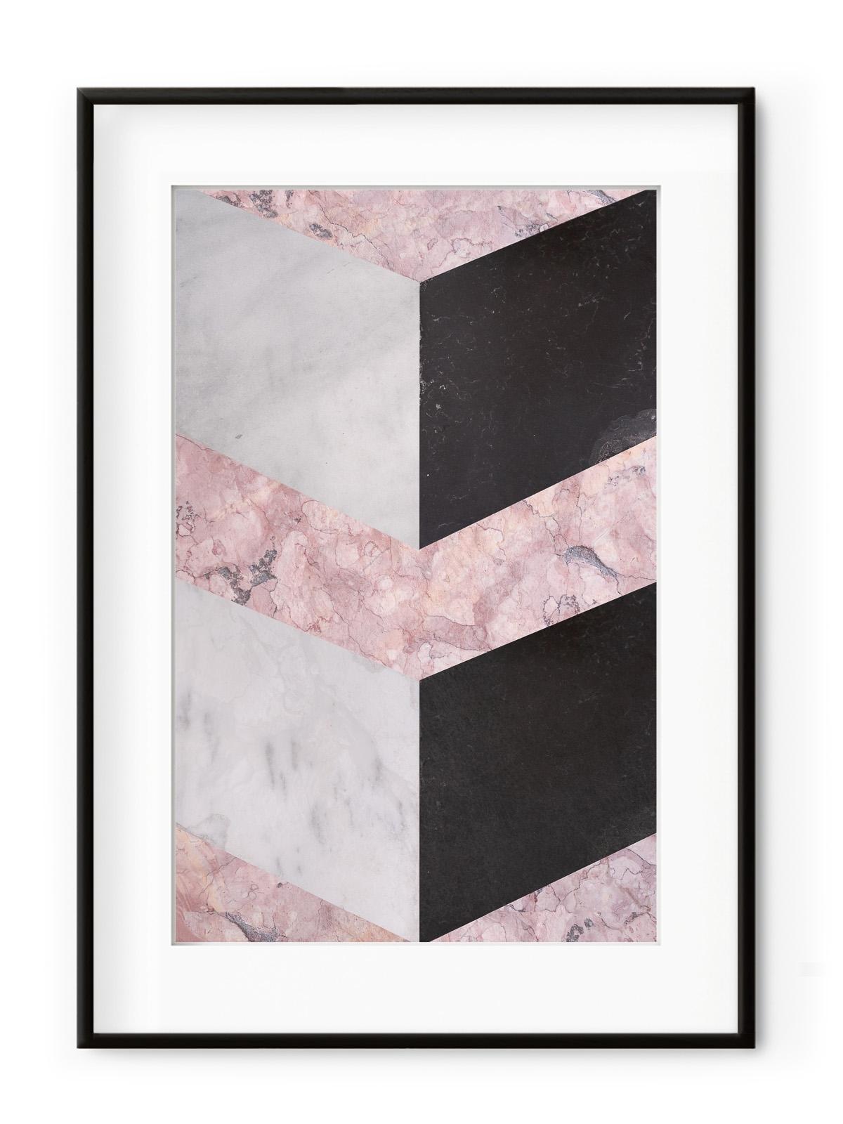 Tablou Geometric Marble Aluminium Noir