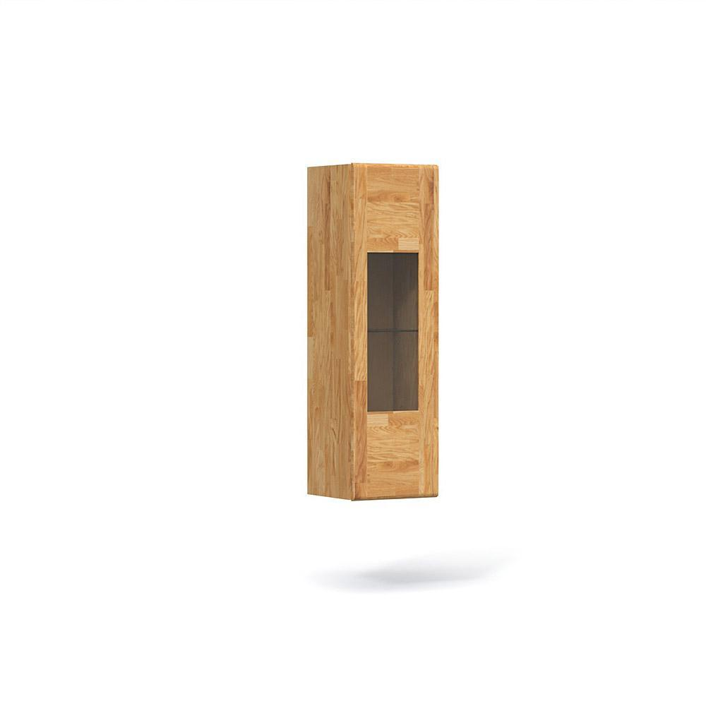 Cabinet cu vitrina suspendat din lemn masiv de stejar natural Seti, L40xl35xh130 cm
