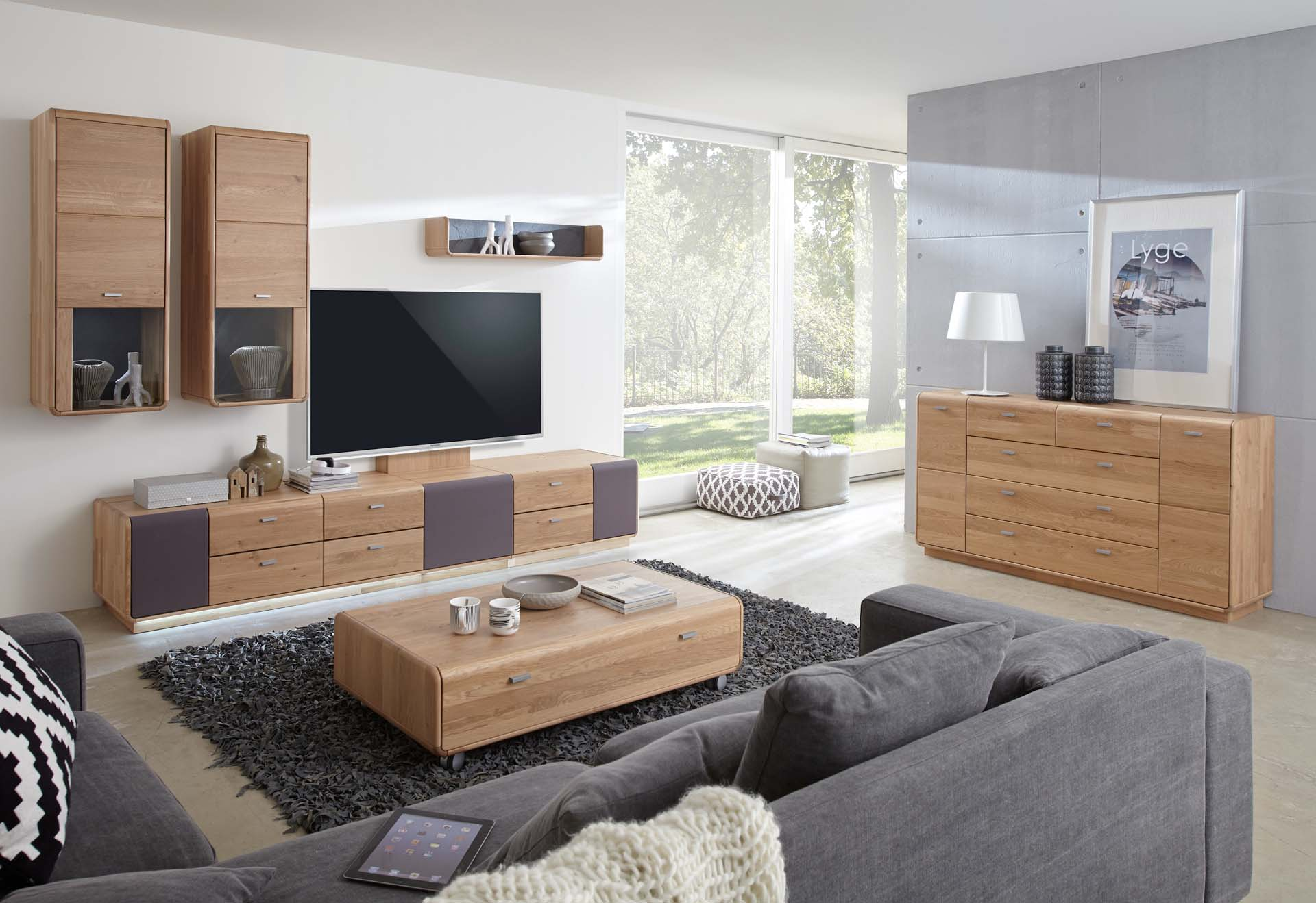 Comoda Tv din lemn de stejar Medea