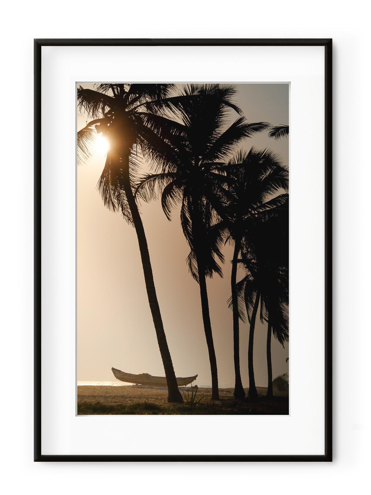 Tablou Sunset & Coconut Trees Aluminium Noir