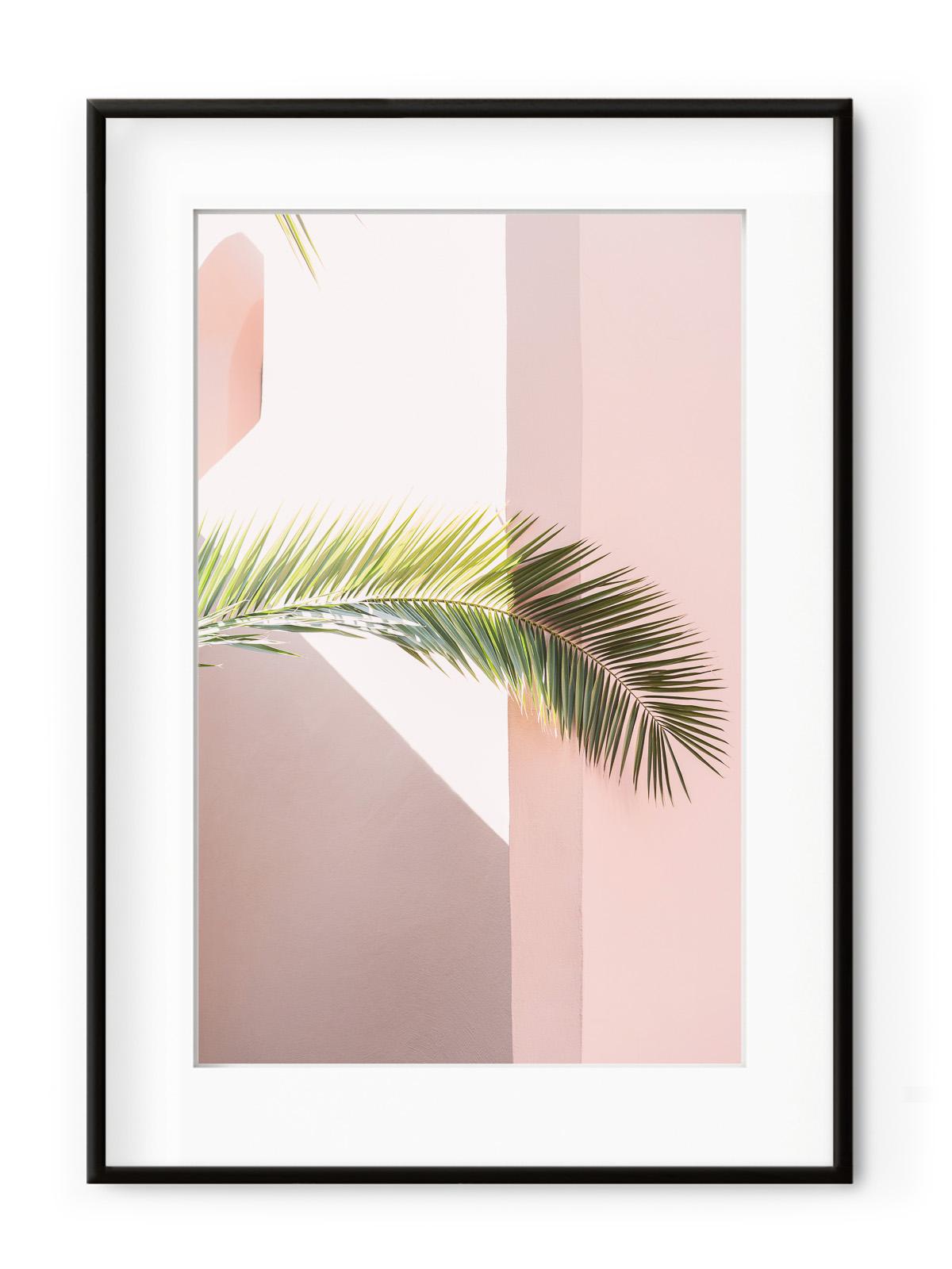 Tablou Pink Palm Aluminium Noir