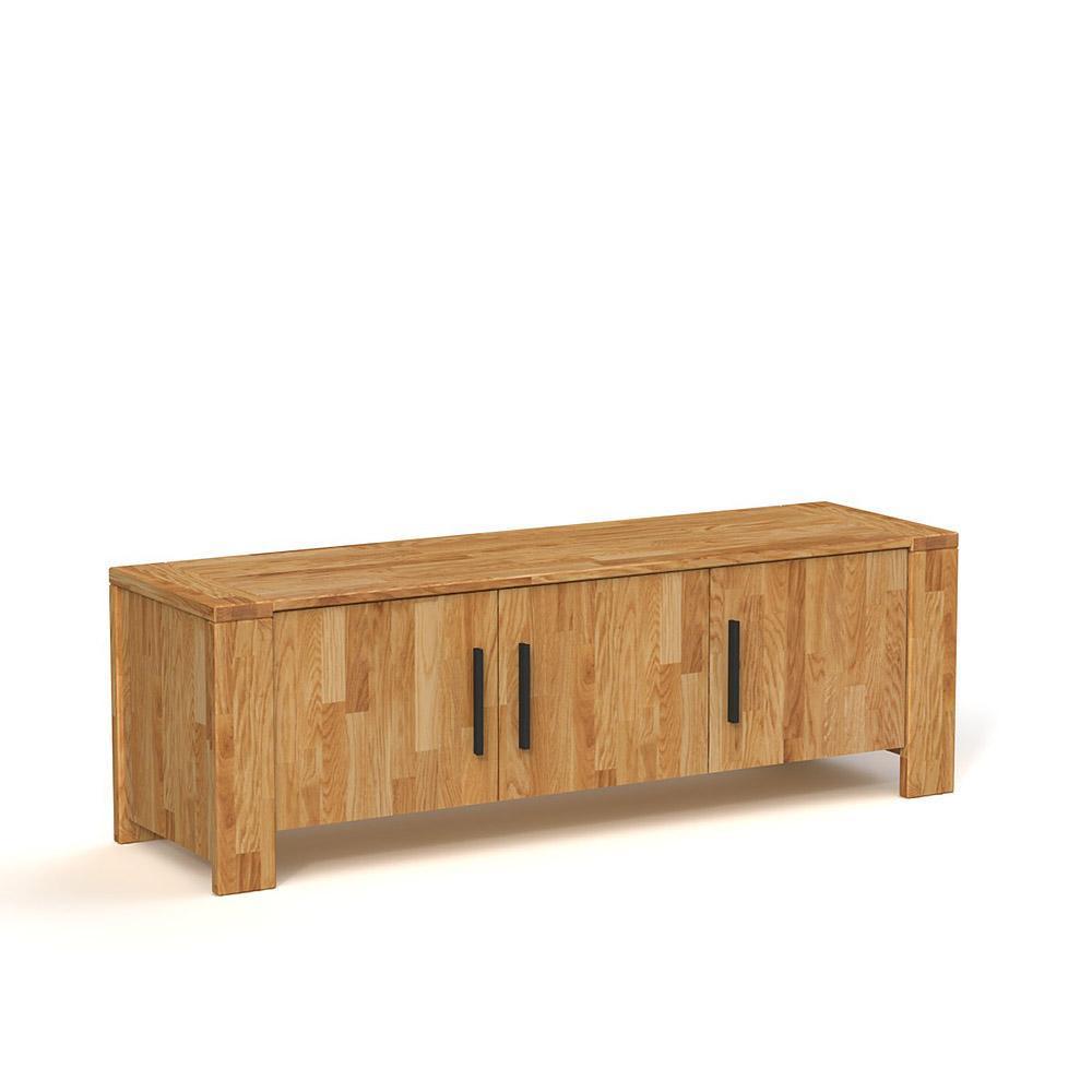 Comoda cu 3 usi din lemn masiv de stejar natural Cubic, L155xl45h51 cm