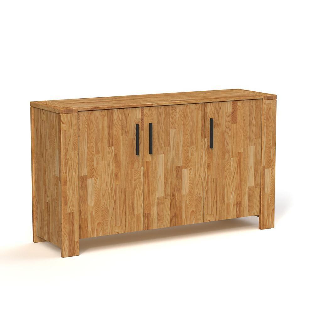 poze cu Comoda din lemn masiv de stejar natural Cubic cu 3 usi